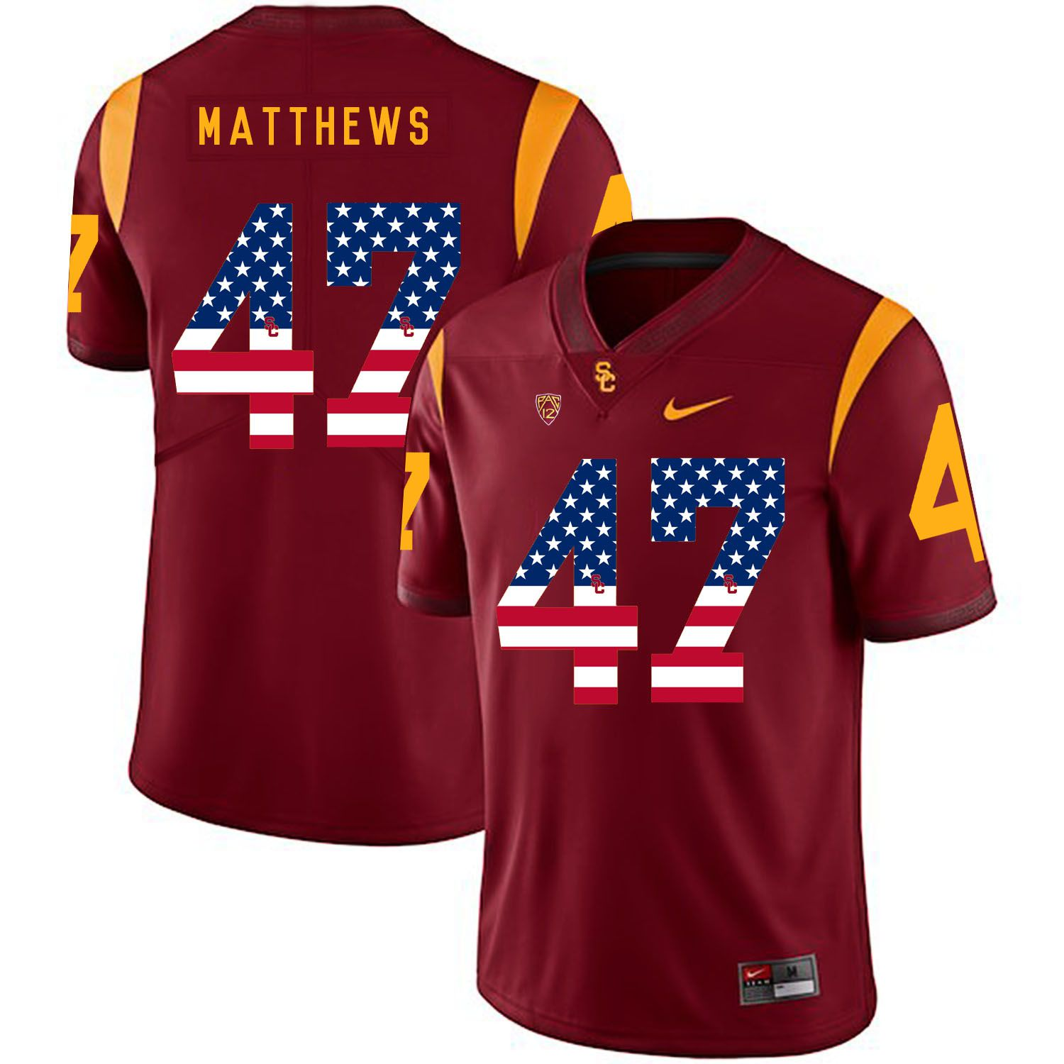 Men USC Trojans 47 Matthews Red Flag Customized NCAA Jerseys