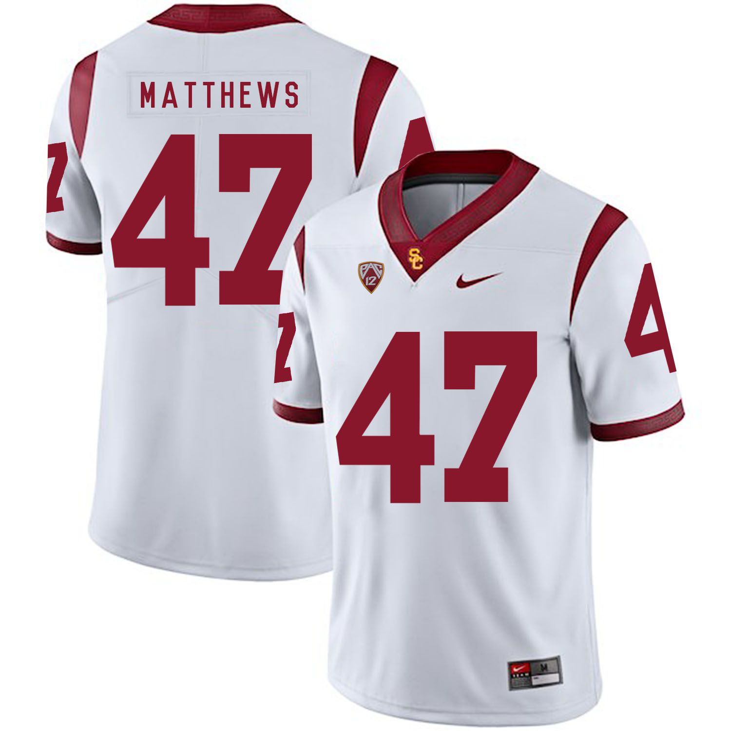 Men USC Trojans 47 Matthews White Customized NCAA Jerseys