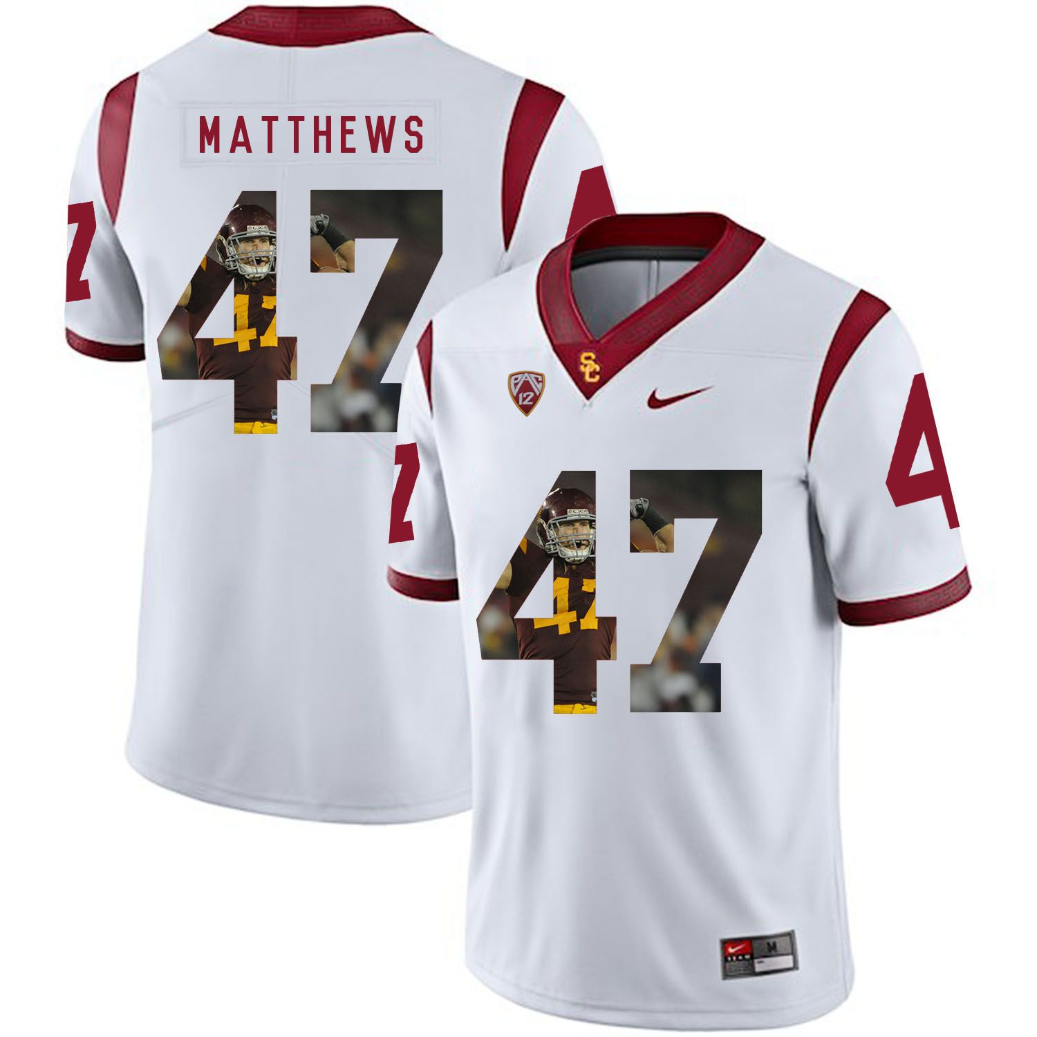 Men USC Trojans 47 Matthews White Fashion Edition Customized NCAA Jerseys