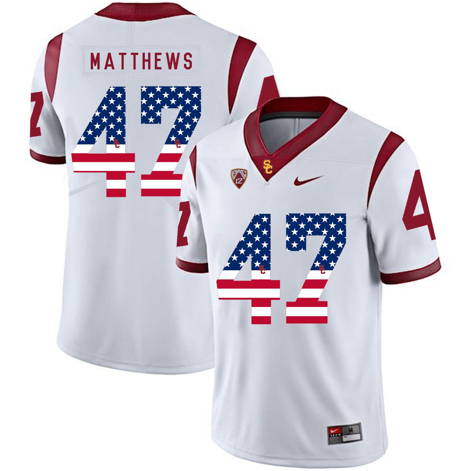 Men USC Trojans 47 Matthews White Flag Customized NCAA Jerseys