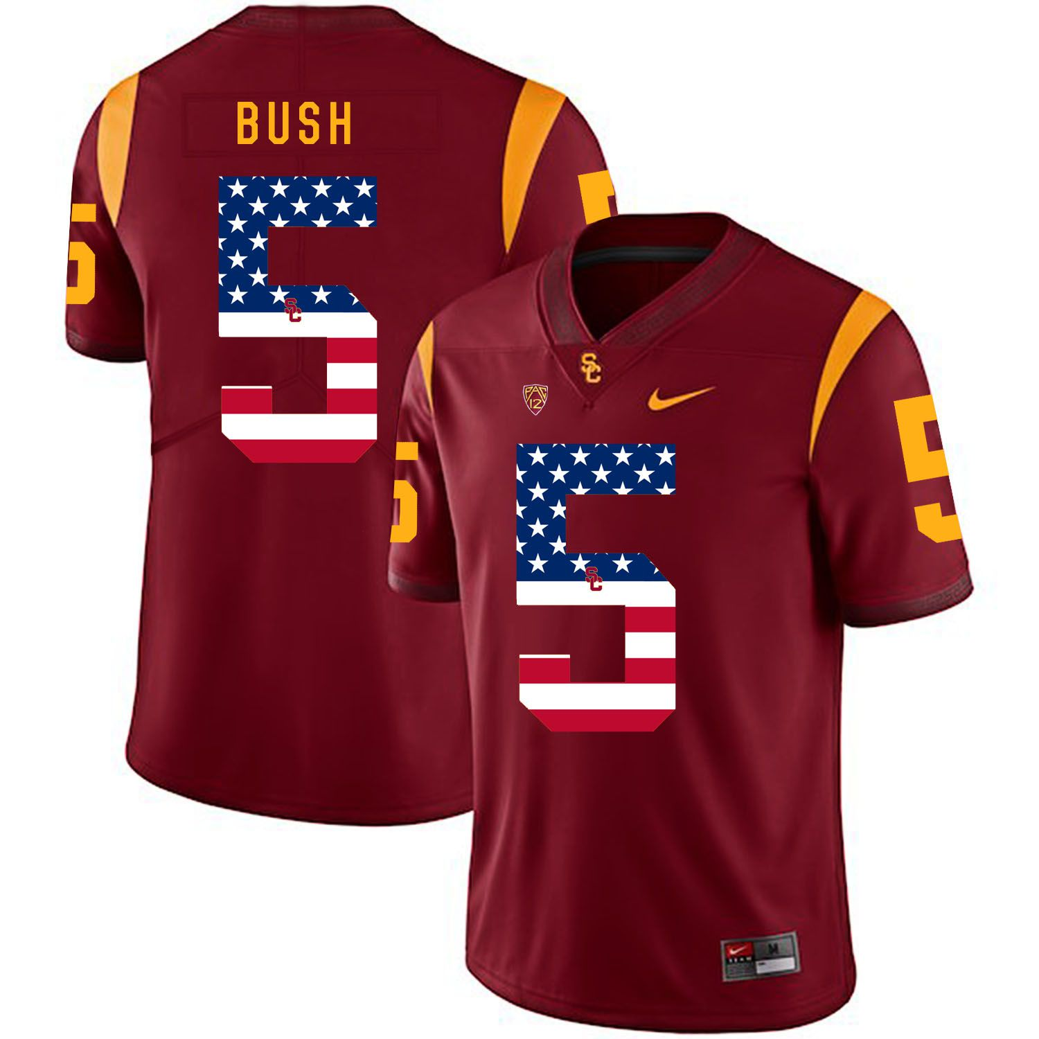 Men USC Trojans 5 Bush Red Flag Customized NCAA Jerseys