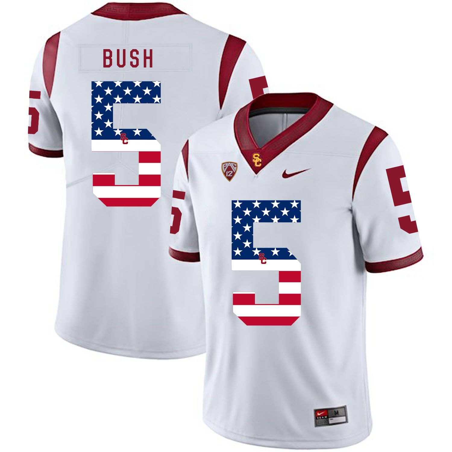 Men USC Trojans 5 Bush White Flag Customized NCAA Jerseys