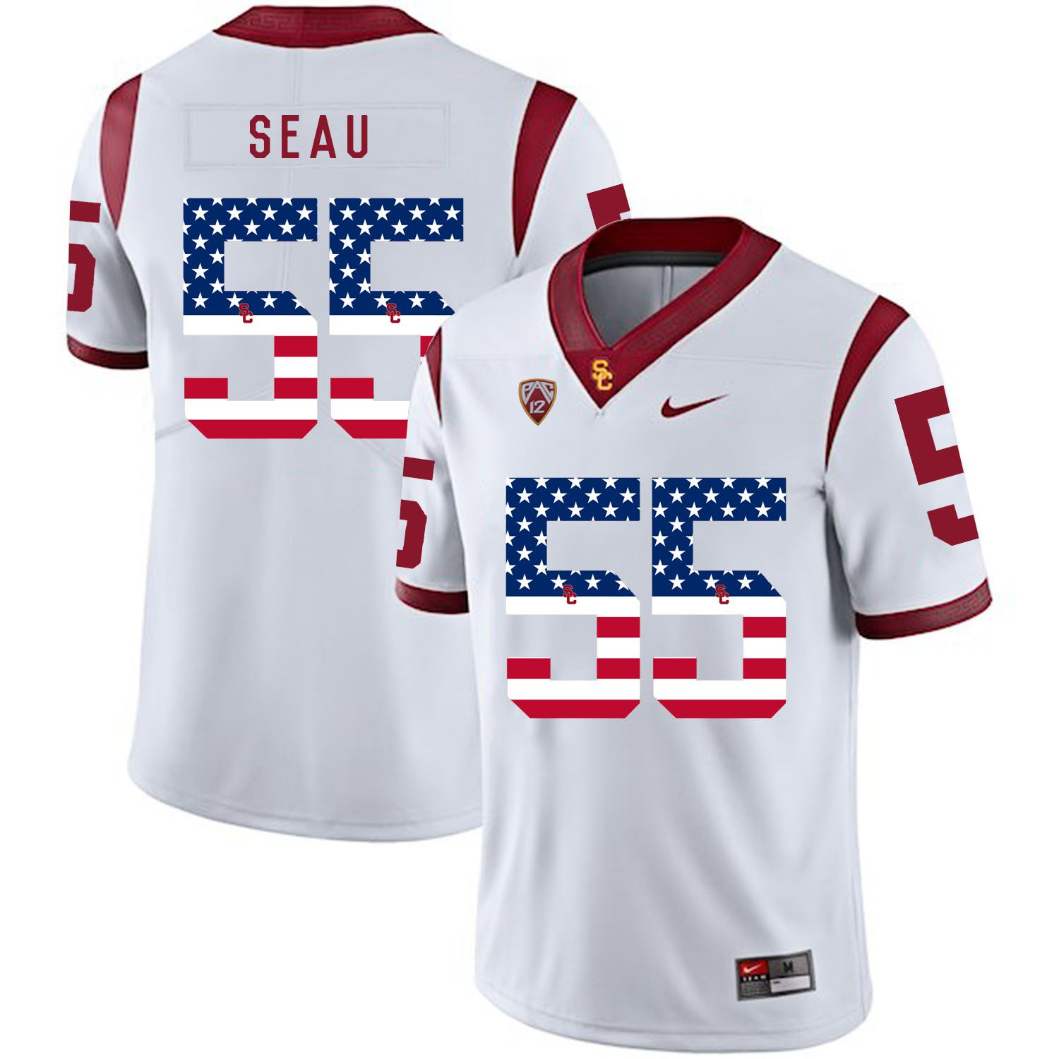 Men USC Trojans 55 Seau White Flag Customized NCAA Jerseys
