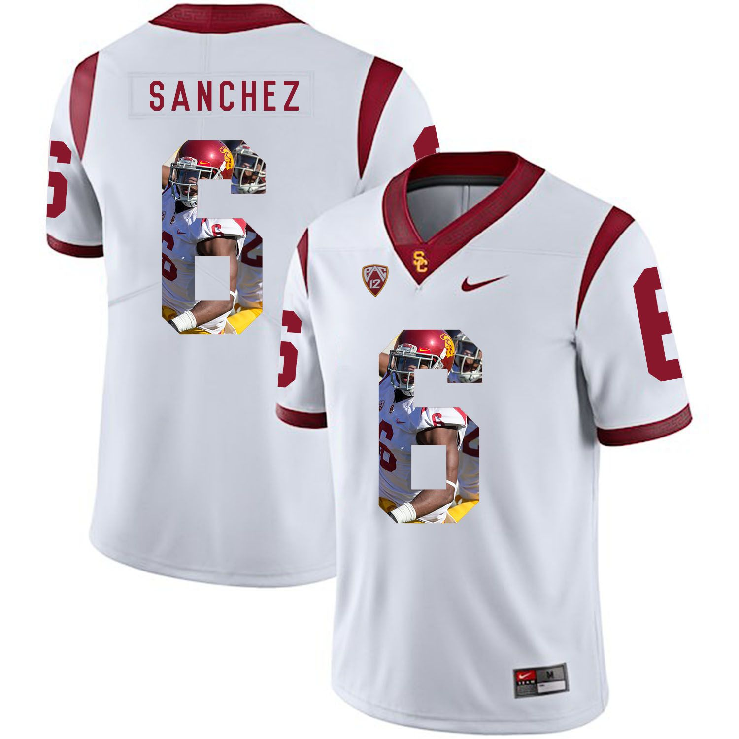 Men USC Trojans 6 Sanchez White Fashion Edition Customized NCAA Jerseys