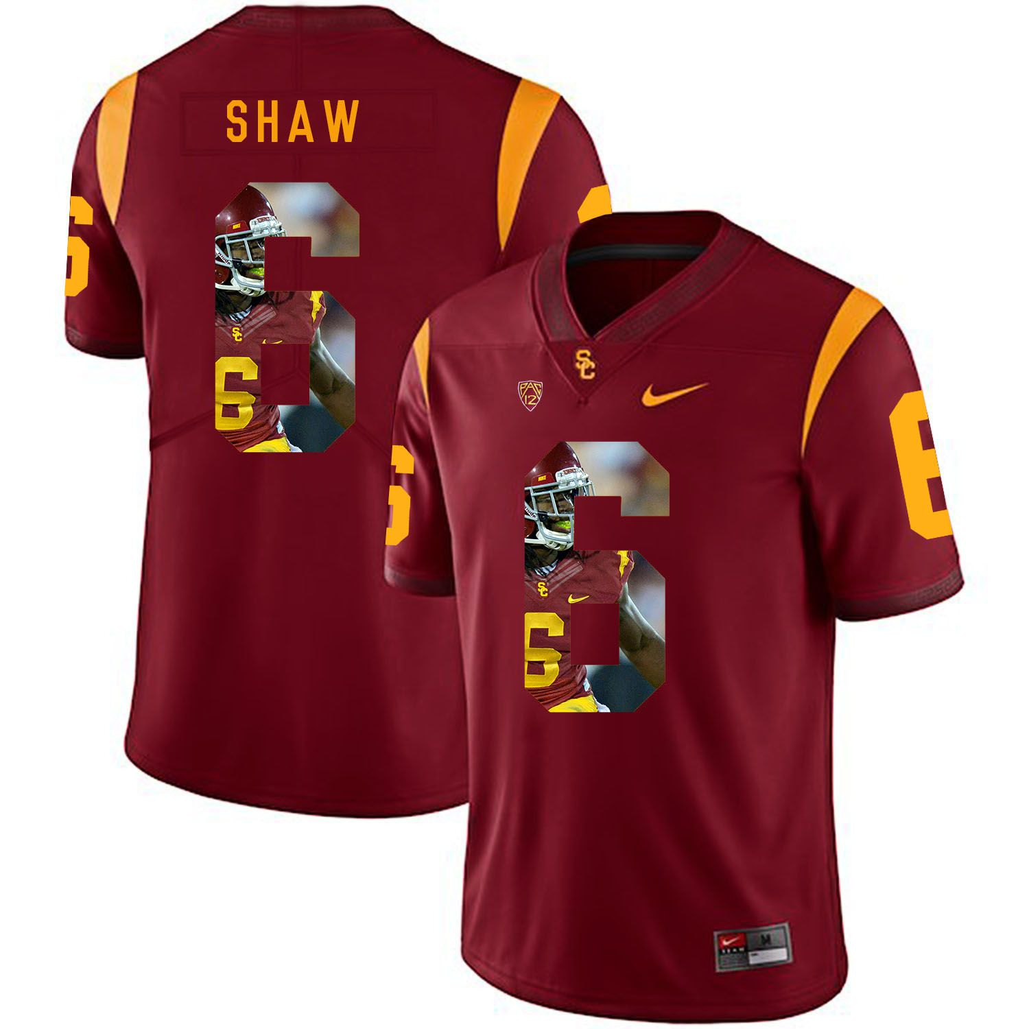 Men USC Trojans 6 Shaw Red Fashion Edition Customized NCAA Jerseys