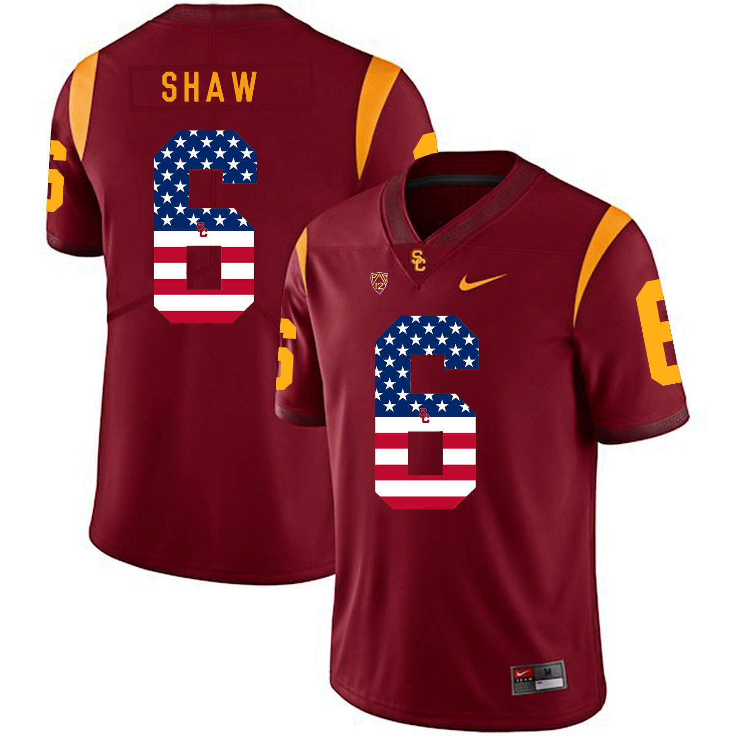 Men USC Trojans 6 Shaw Red Flag Customized NCAA Jerseys