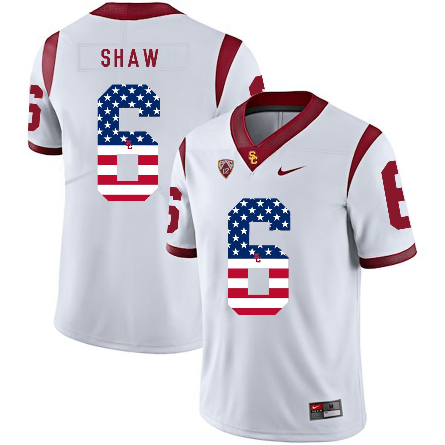 Men USC Trojans 6 Shaw White Flag Customized NCAA Jerseys