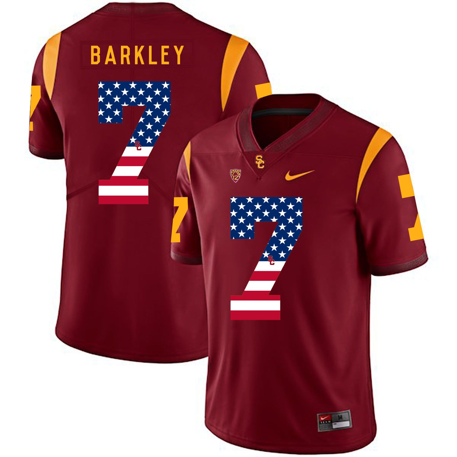 Men USC Trojans 7 Barkley Red Flag Customized NCAA Jerseys