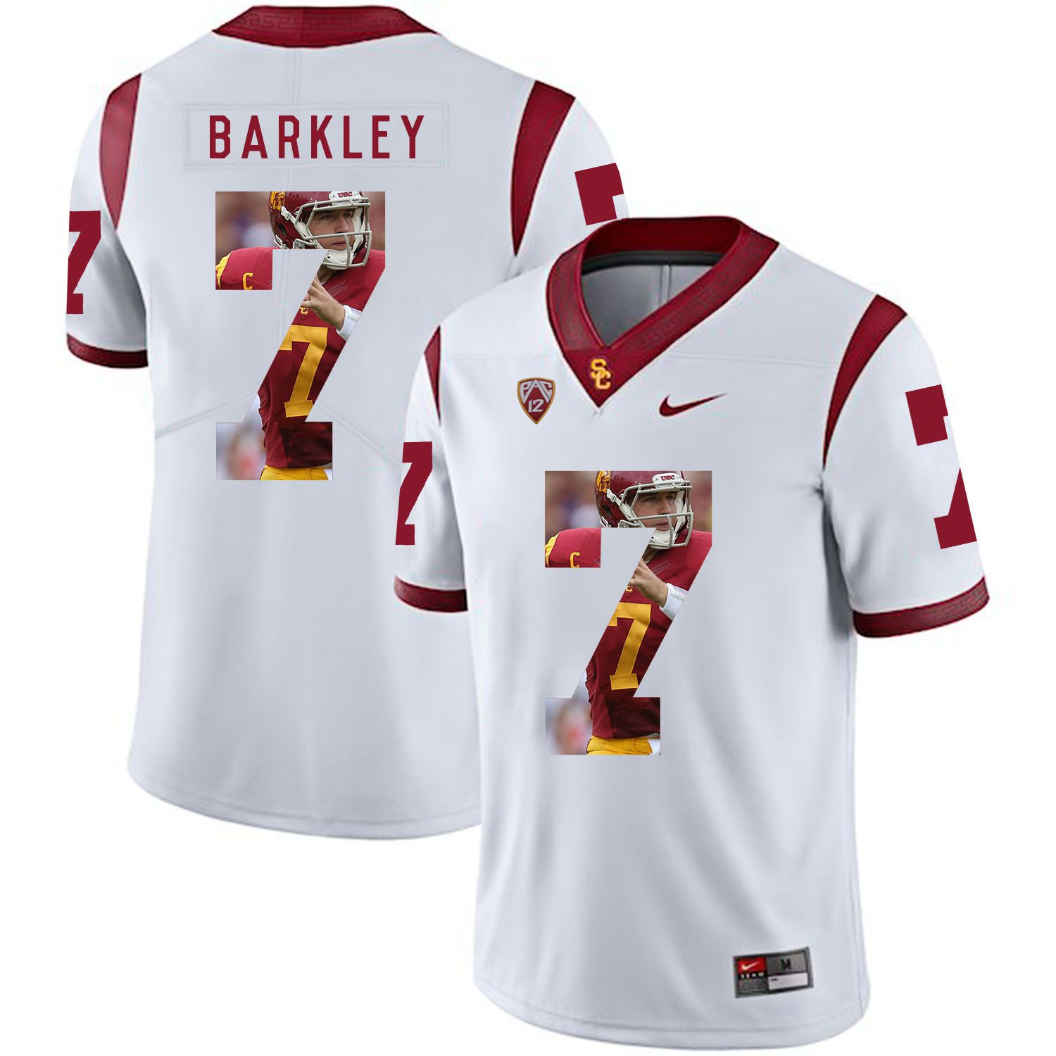 Men USC Trojans 7 Barkley White Fashion Edition Customized NCAA Jerseys