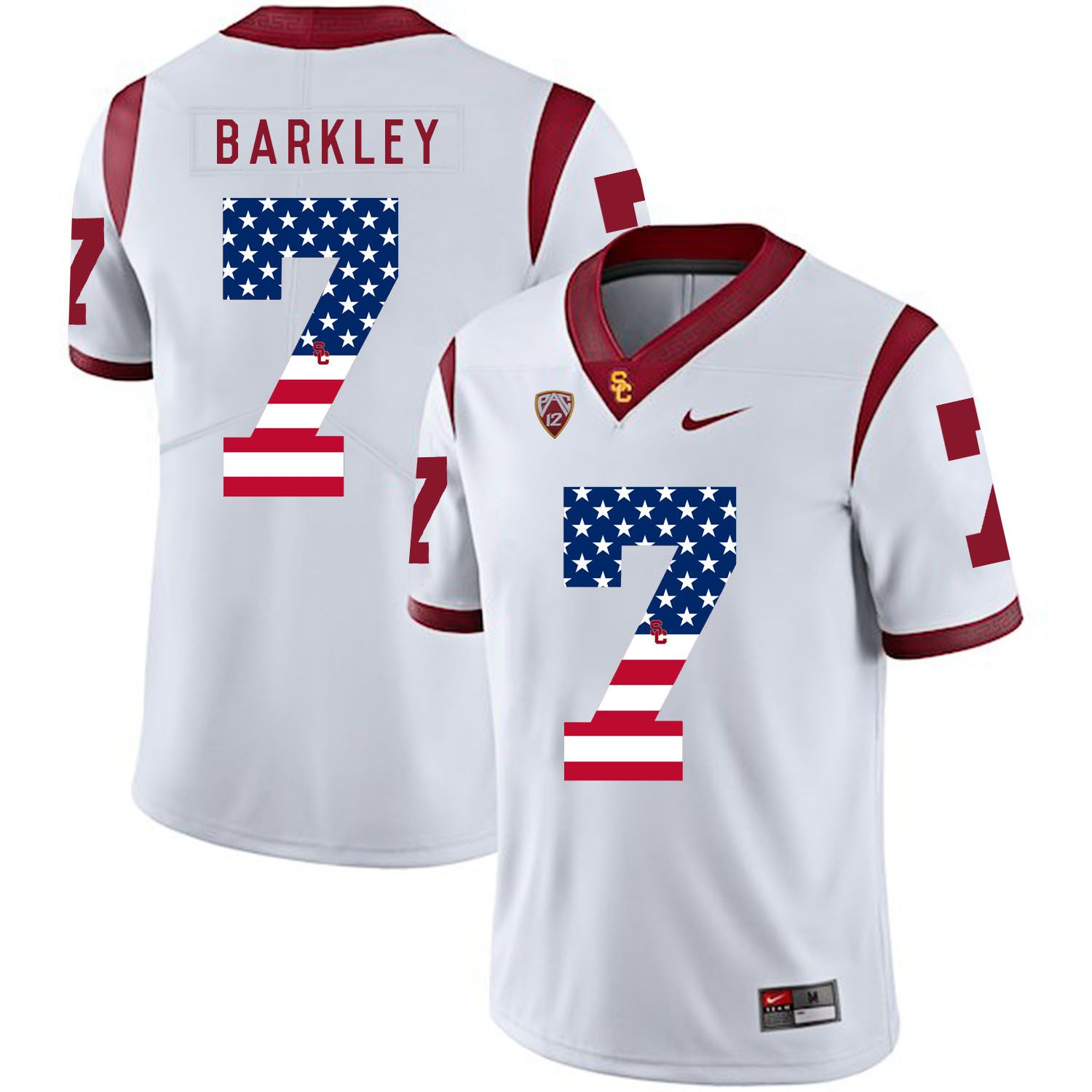 Men USC Trojans 7 Barkley White Flag Customized NCAA Jerseys