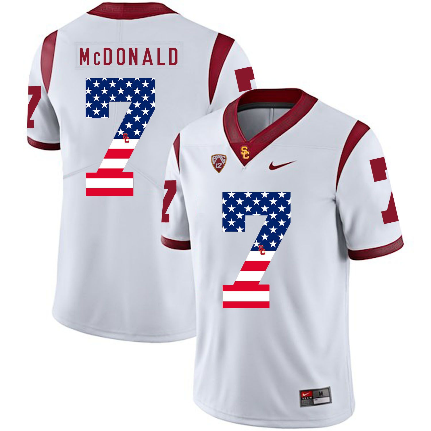Men USC Trojans 7 Mcdonald White Flag Customized NCAA Jerseys
