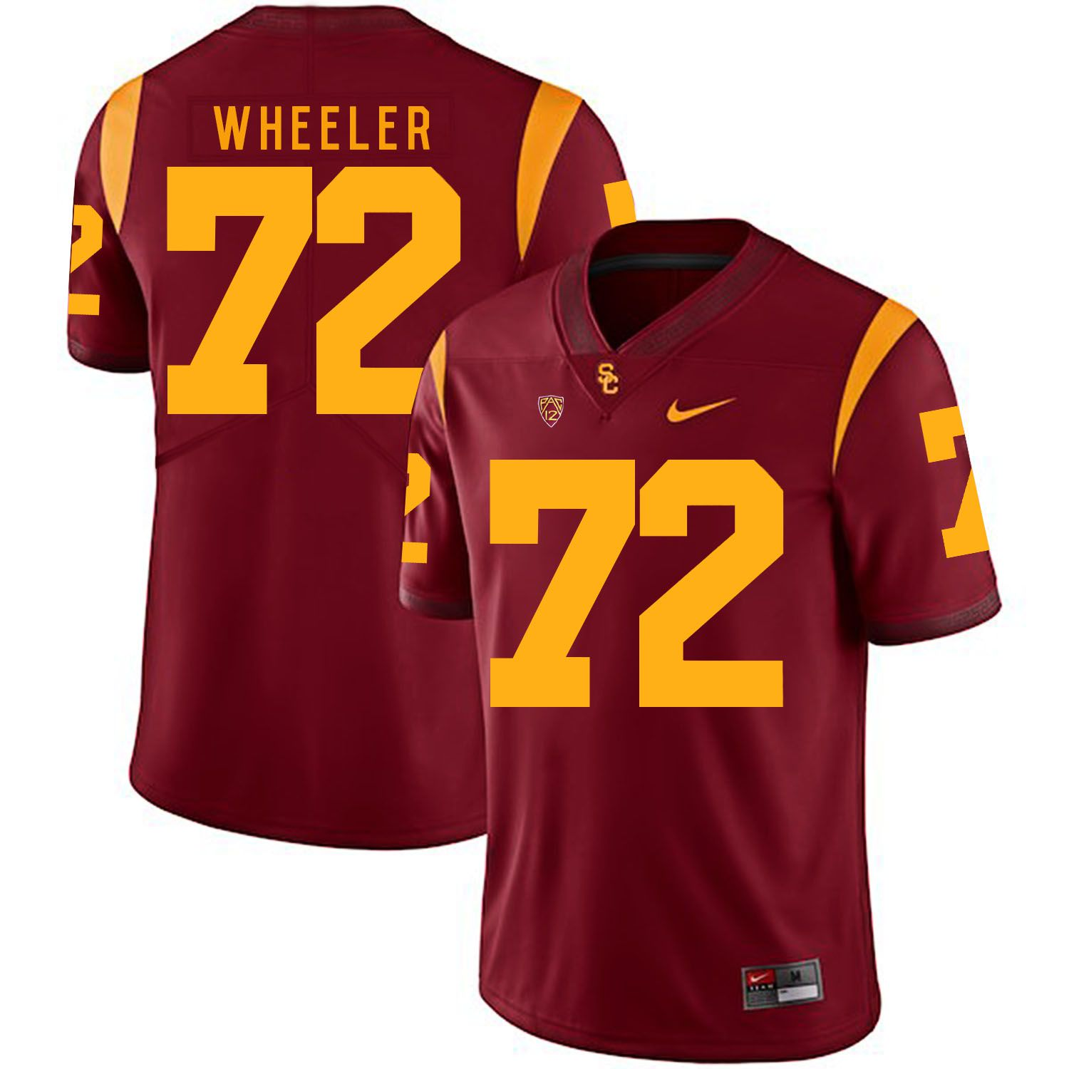 Men USC Trojans 72 Wheeler Red Customized NCAA Jerseys