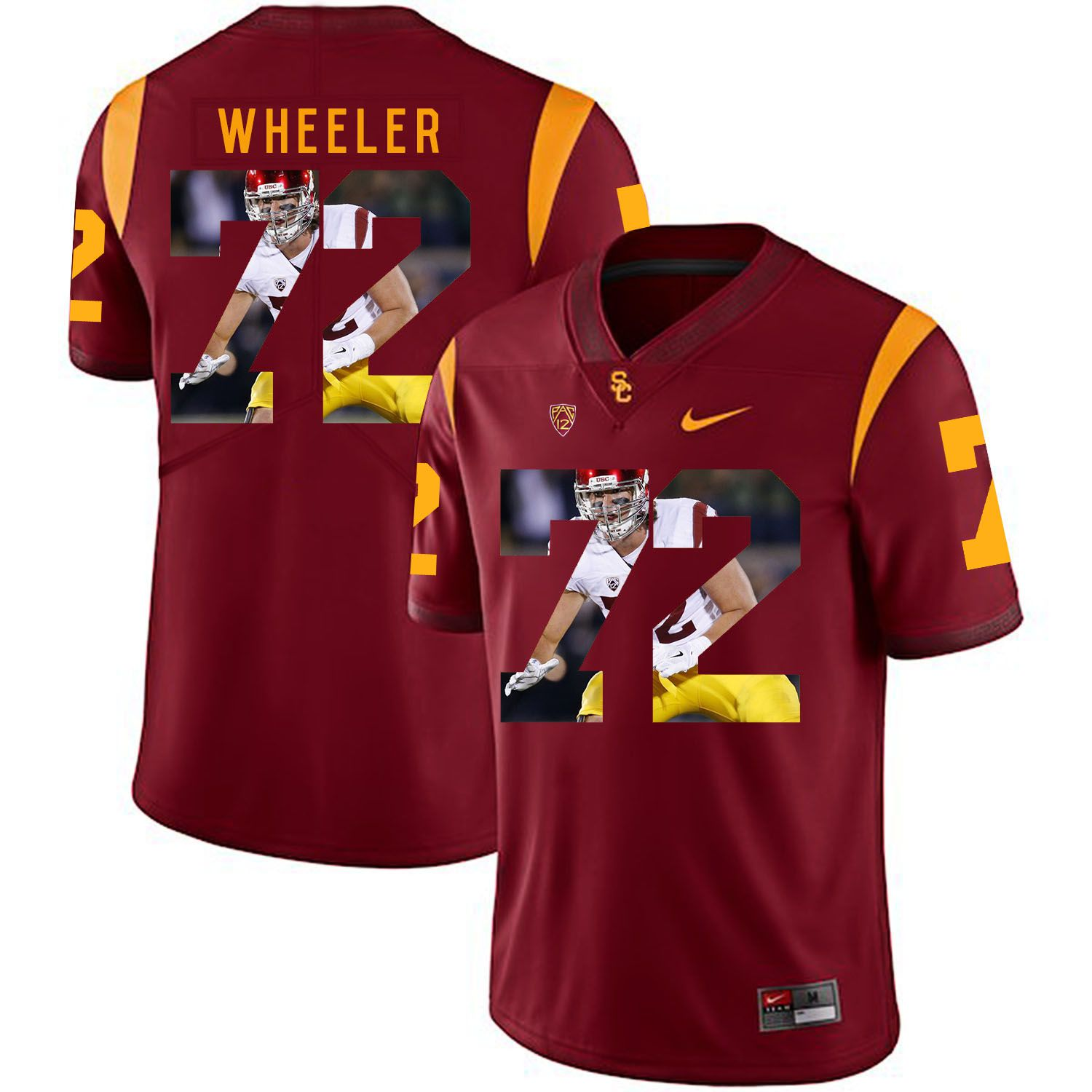 Men USC Trojans 72 Wheeler Red Fashion Edition Customized NCAA Jerseys