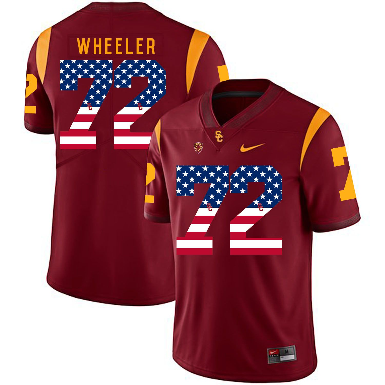 Men USC Trojans 72 Wheeler Red Flag Customized NCAA Jerseys