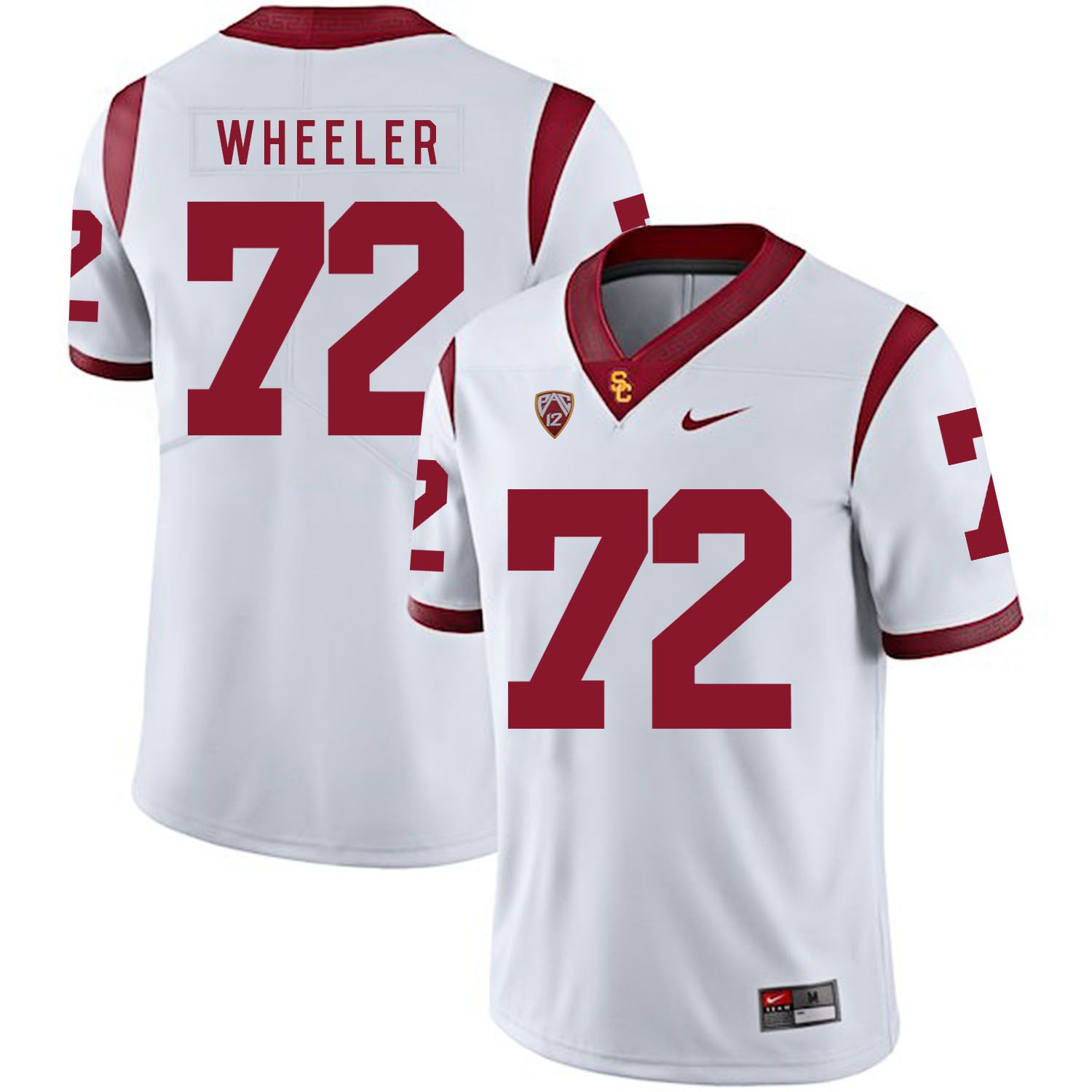 Men USC Trojans 72 Wheeler White Customized NCAA Jerseys