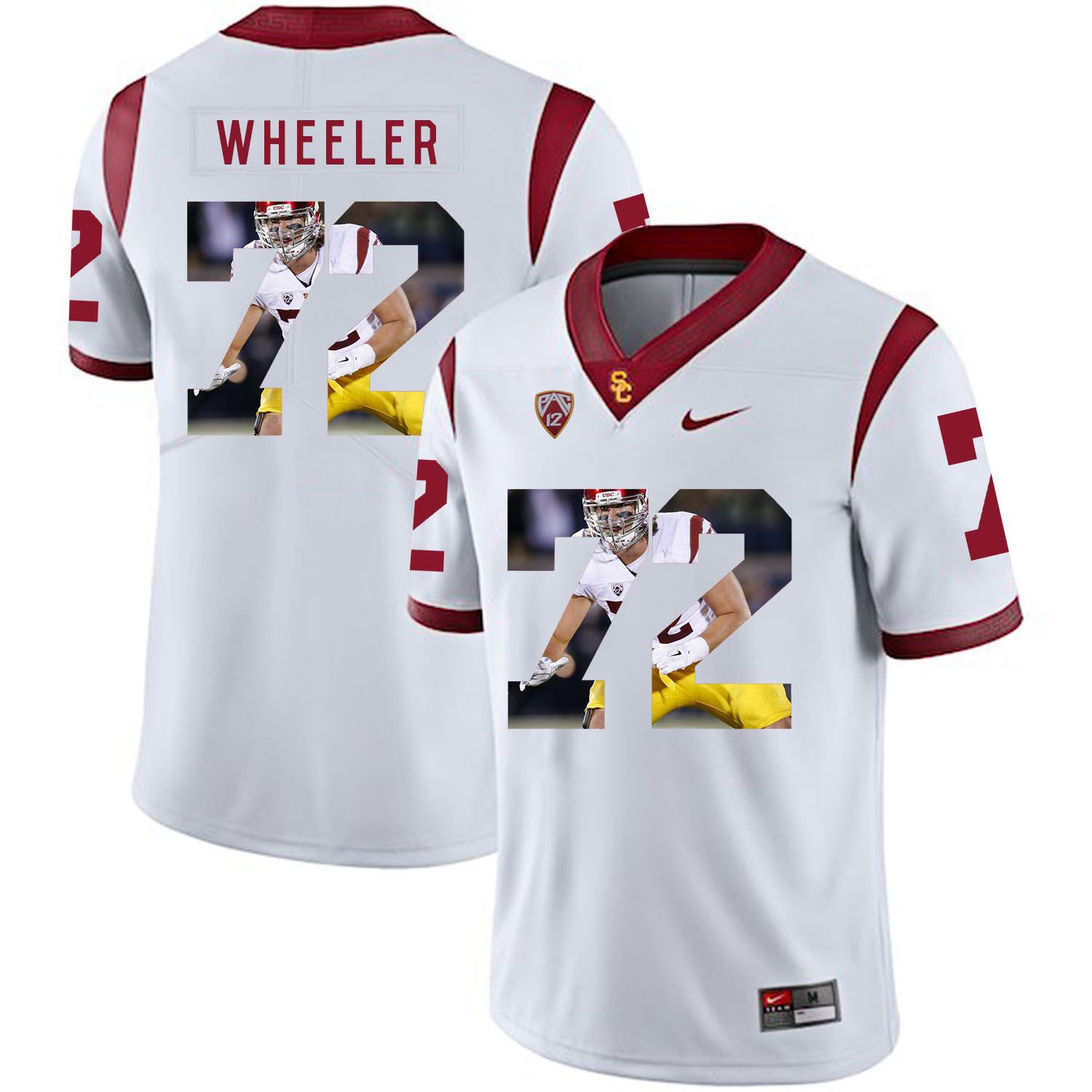 Men USC Trojans 72 Wheeler White Fashion Edition Customized NCAA Jerseys