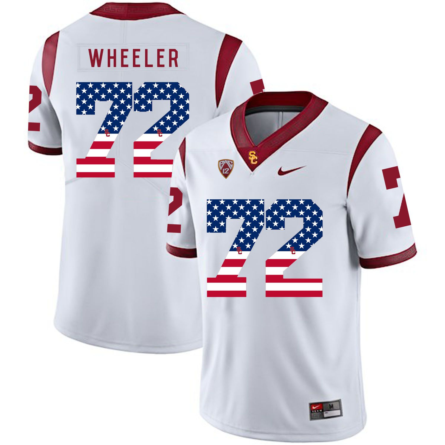 Men USC Trojans 72 Wheeler White Flag Customized NCAA Jerseys