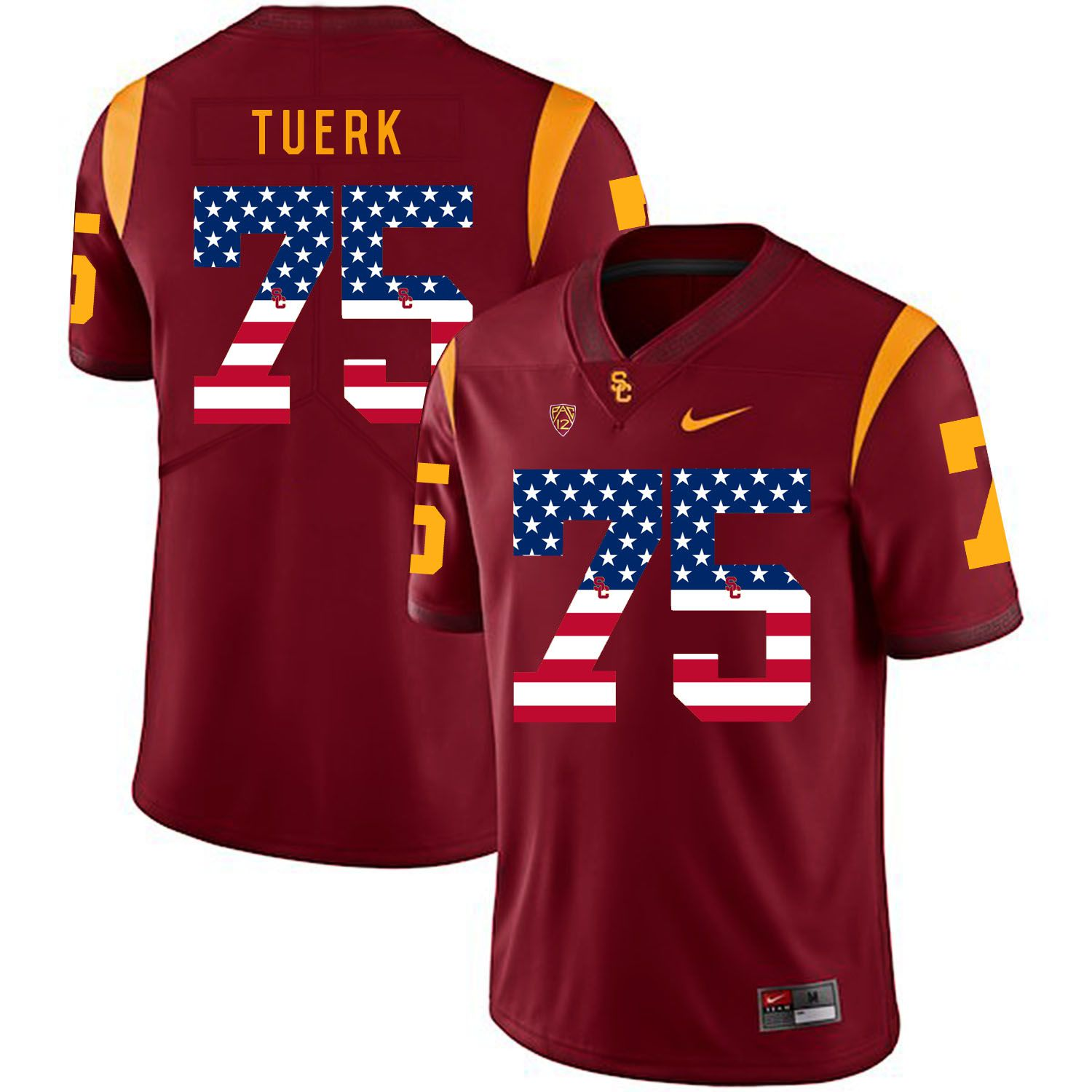 Men USC Trojans 75 Tuerk Red Flag Customized NCAA Jerseys