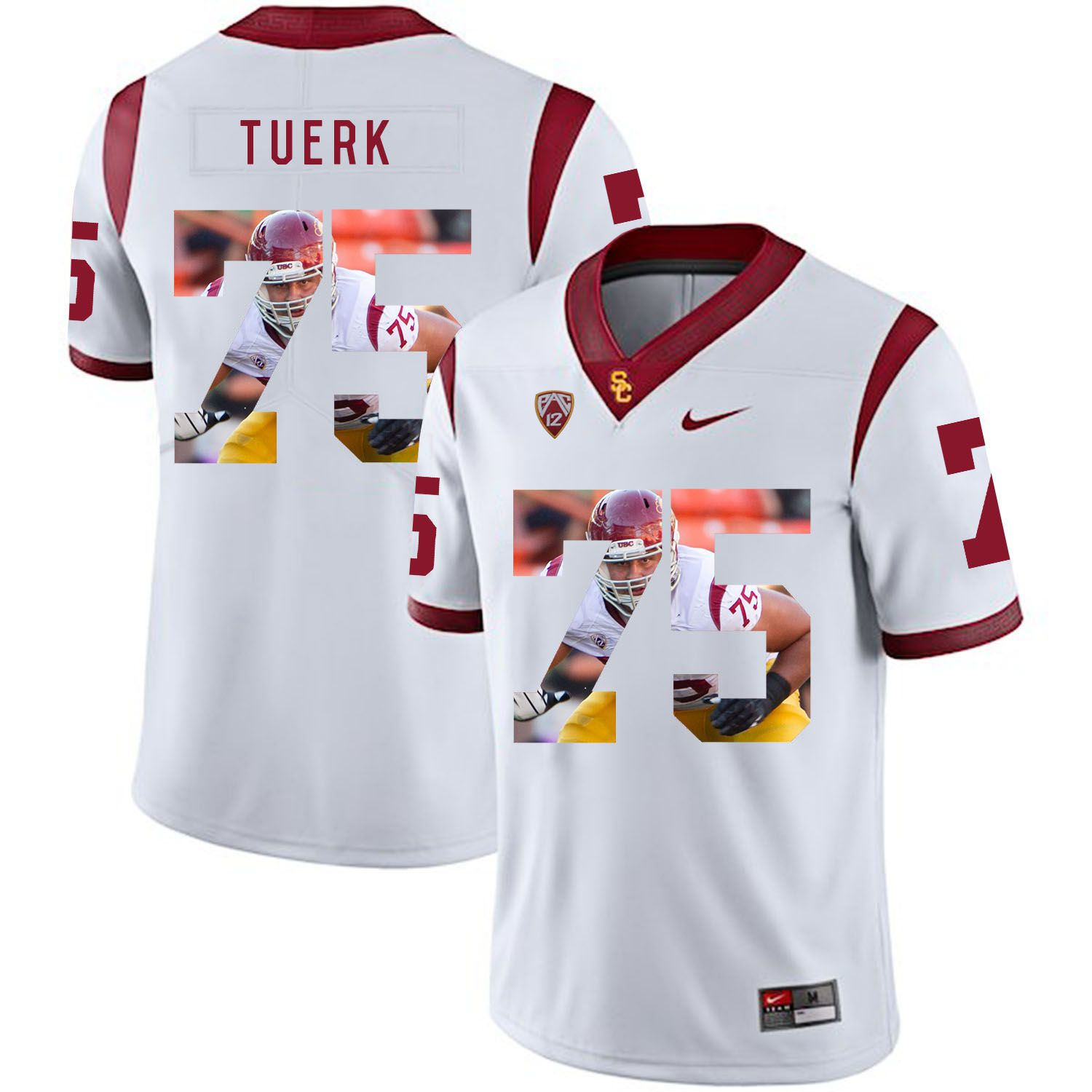 Men USC Trojans 75 Tuerk White Fashion Edition Customized NCAA Jerseys