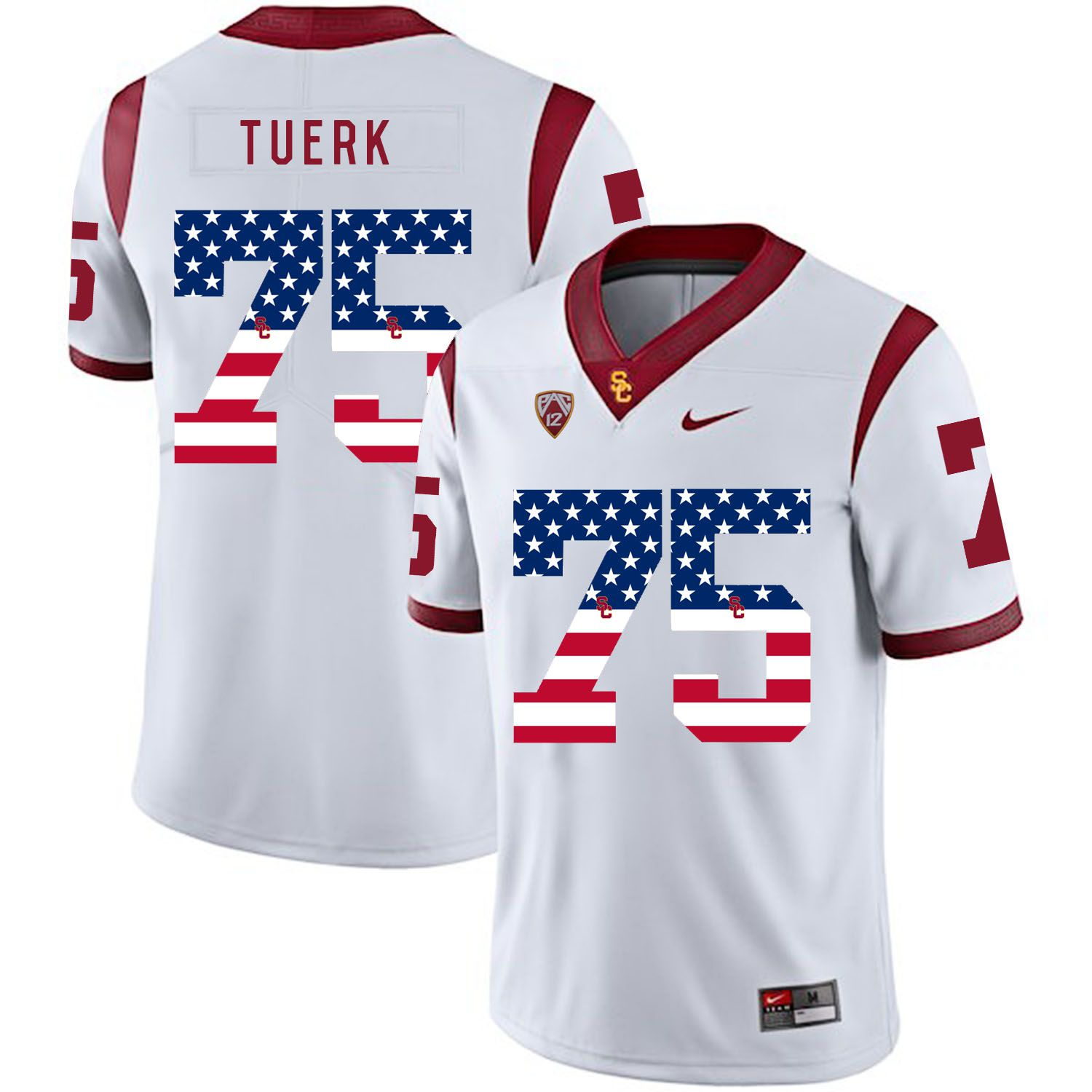 Men USC Trojans 75 Tuerk White Flag Customized NCAA Jerseys