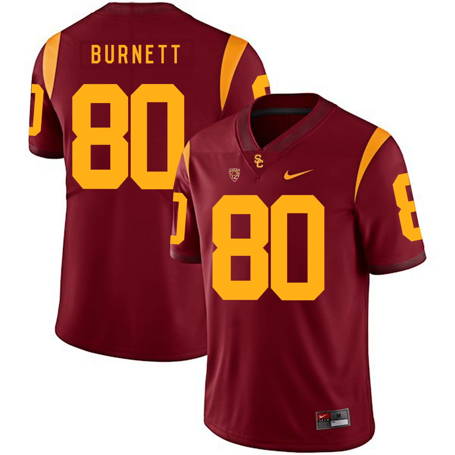 Men USC Trojans 80 Burnett Red Customized NCAA Jerseys