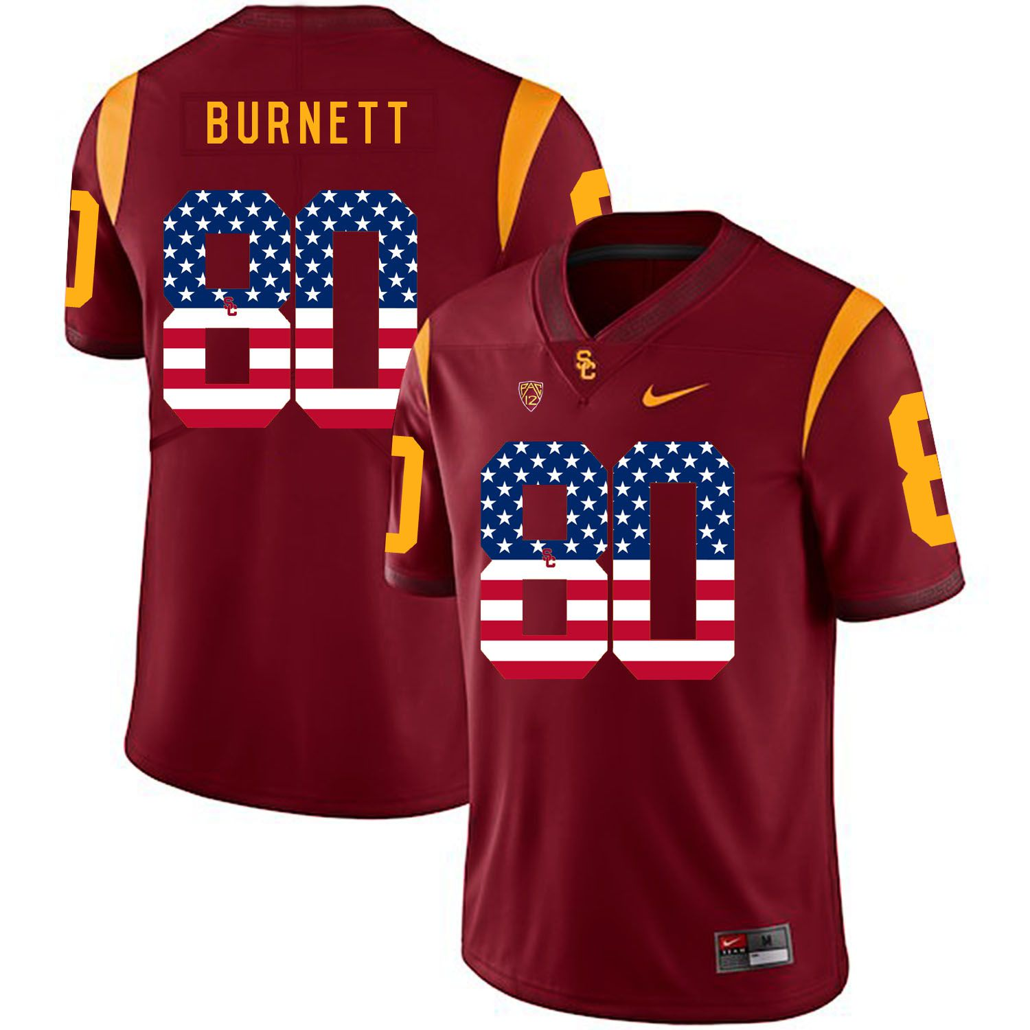 Men USC Trojans 80 Burnett Red Flag Customized NCAA Jerseys