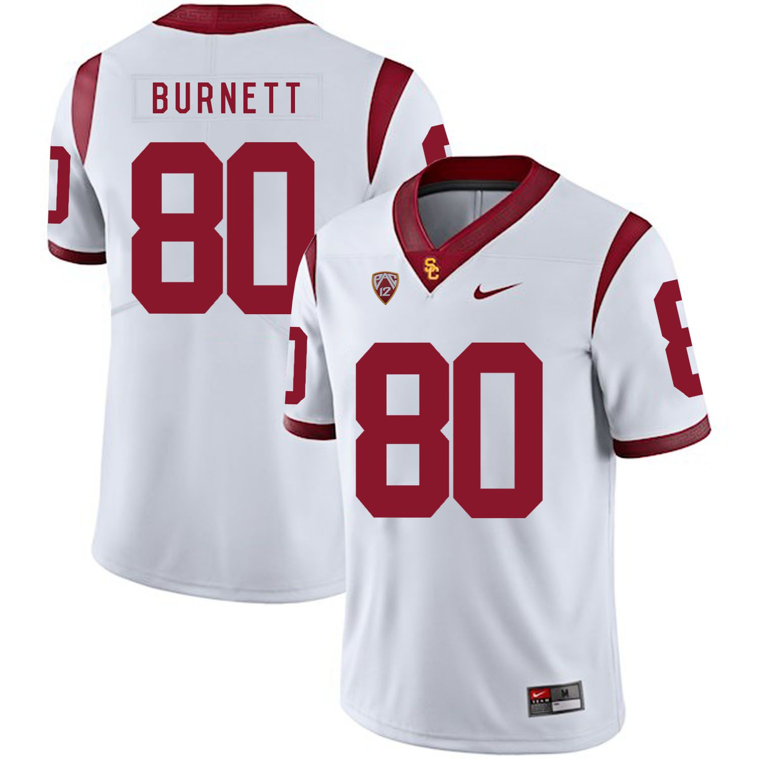 Men USC Trojans 80 Burnett White Customized NCAA Jerseys