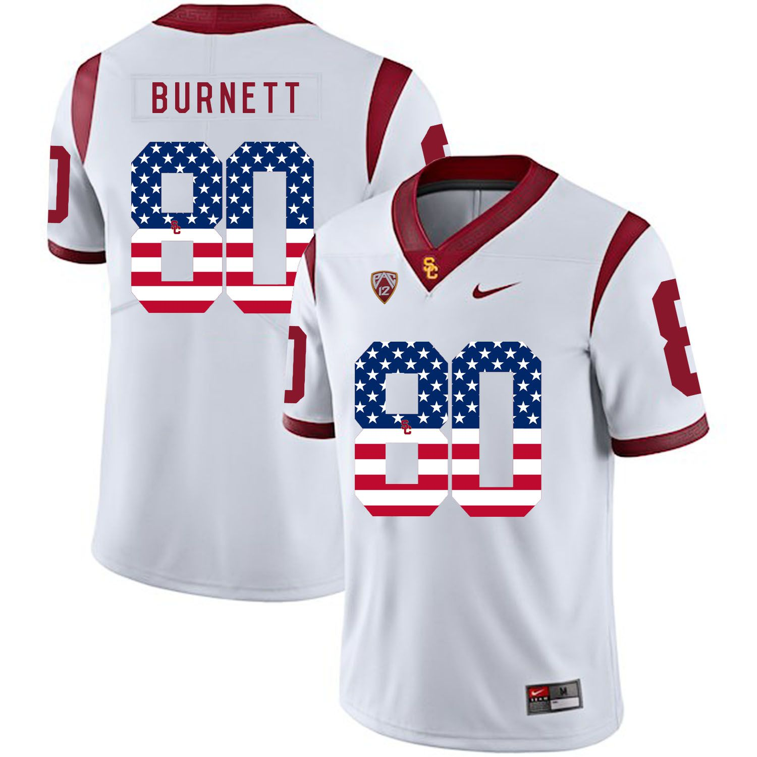 Men USC Trojans 80 Burnett White Flag Customized NCAA Jerseys