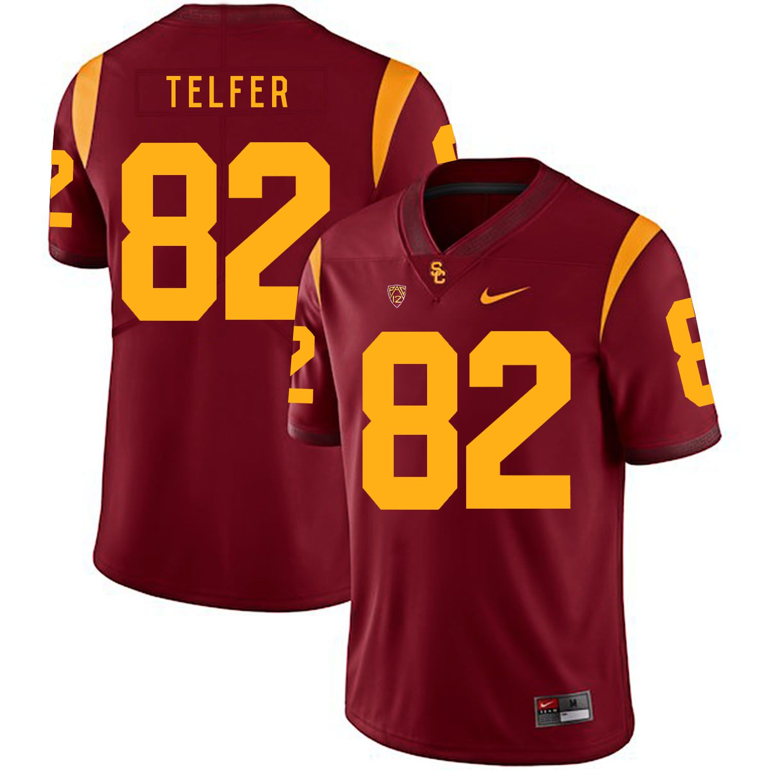 Men USC Trojans 82 Telfer Red Customized NCAA Jerseys