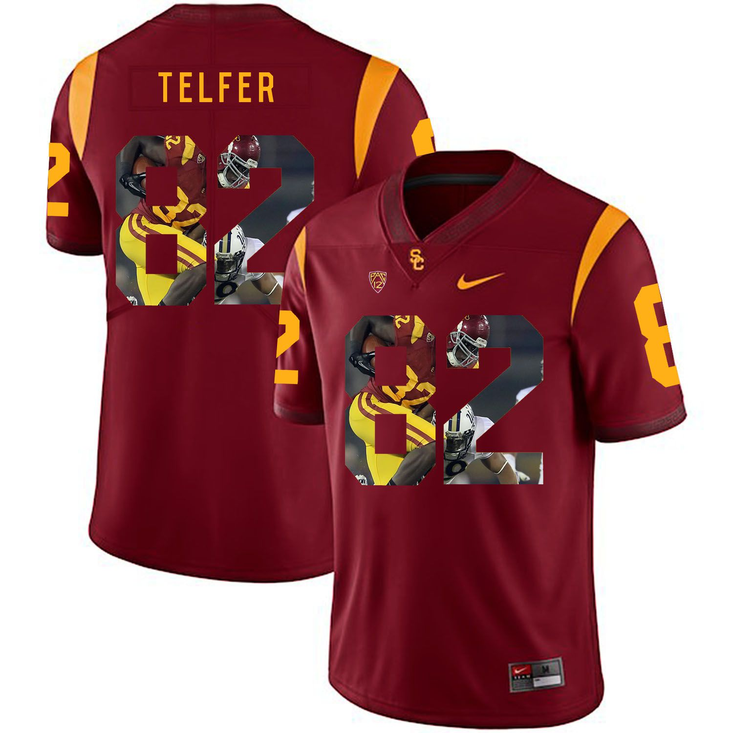 Men USC Trojans 82 Telfer Red Fashion Edition Customized NCAA Jerseys