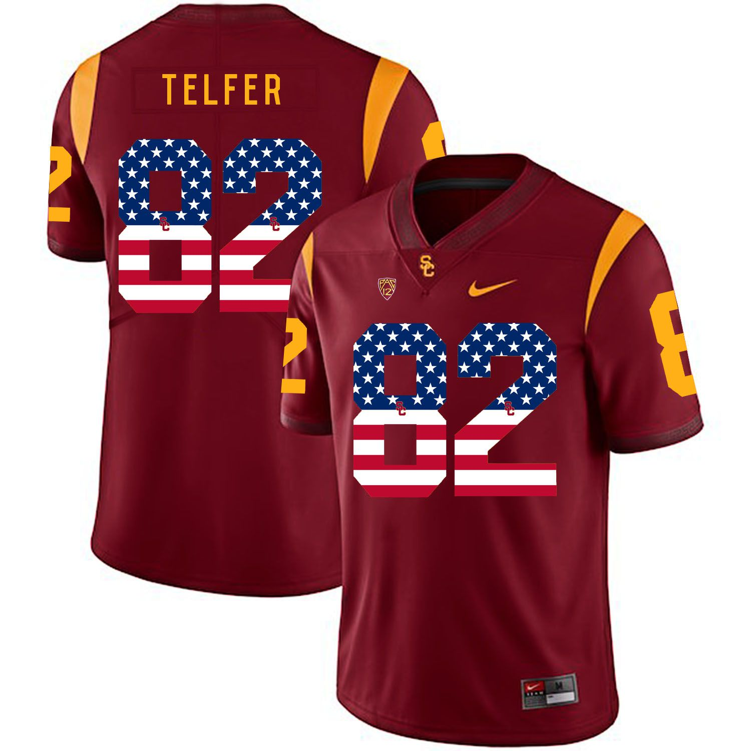 Men USC Trojans 82 Telfer Red Flag Customized NCAA Jerseys