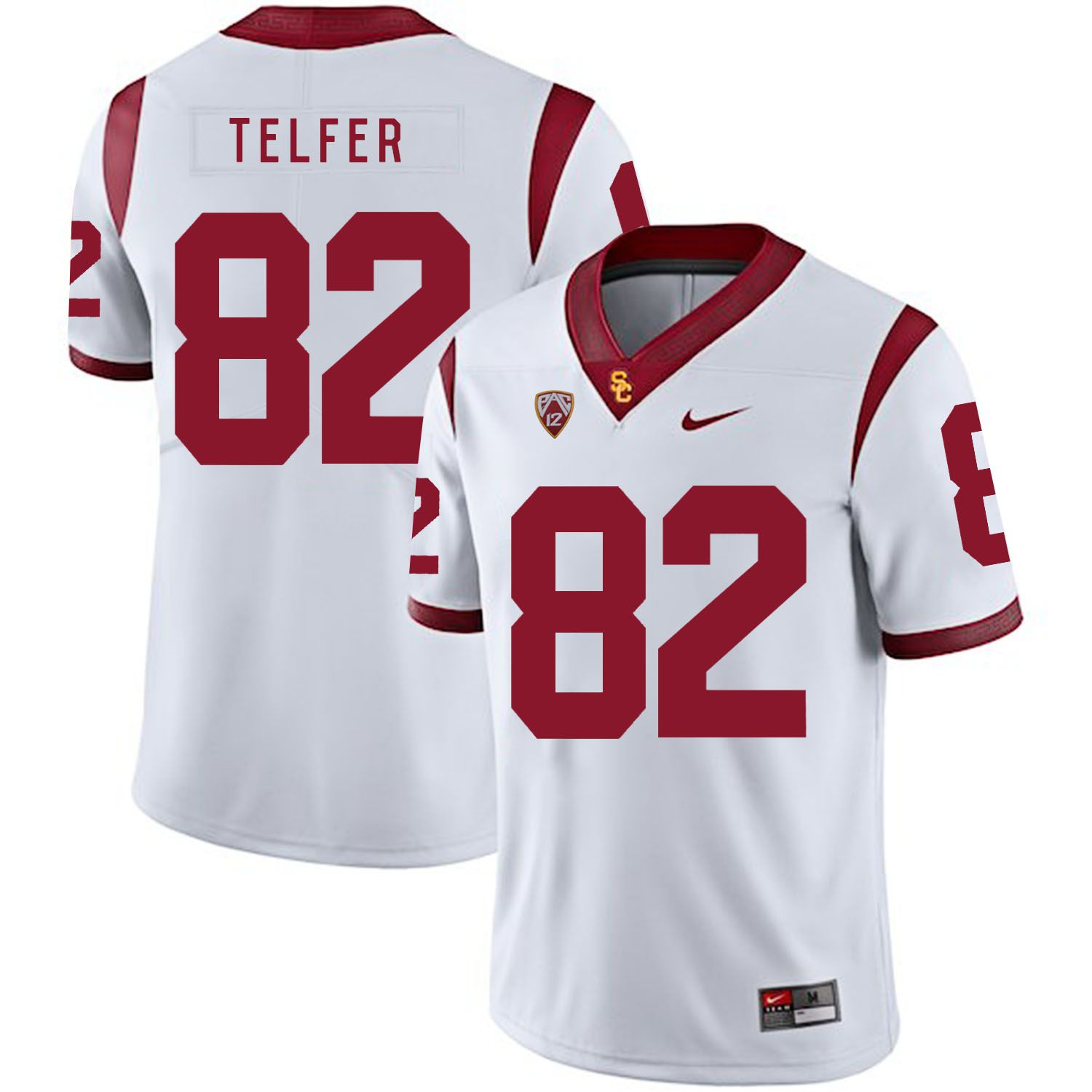 Men USC Trojans 82 Telfer White Customized NCAA Jerseys