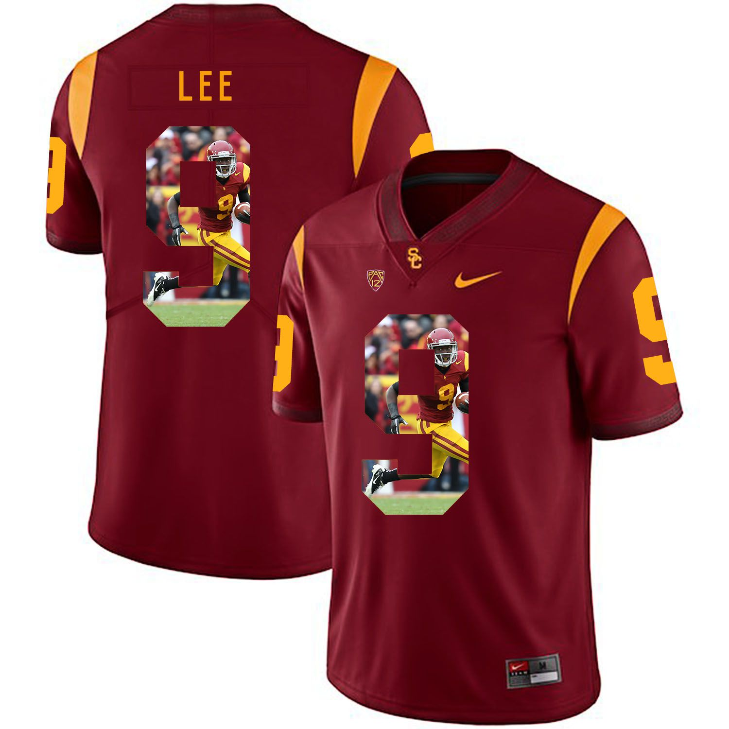 Men USC Trojans 9 Lee Red Fashion Edition Customized NCAA Jerseys
