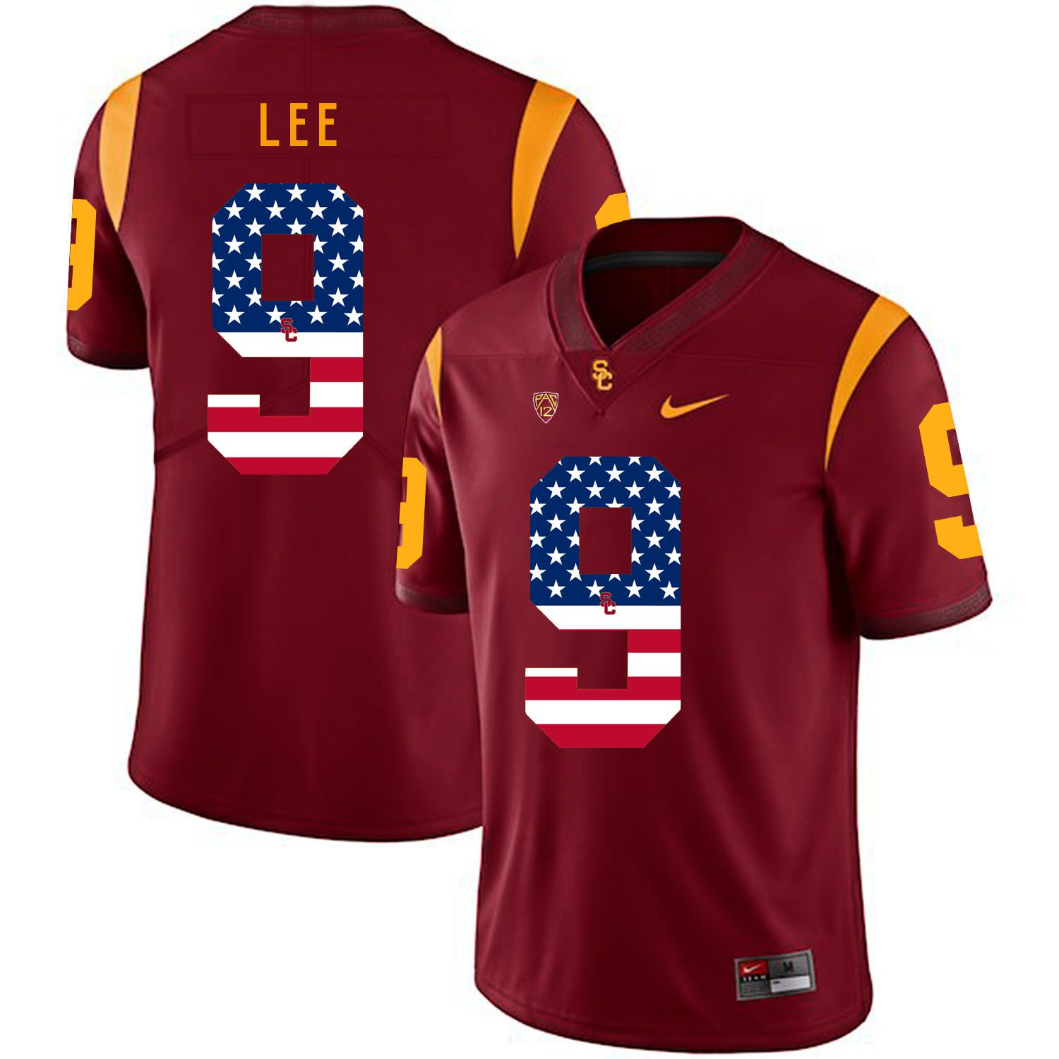 Men USC Trojans 9 Lee Red Flag Customized NCAA Jerseys