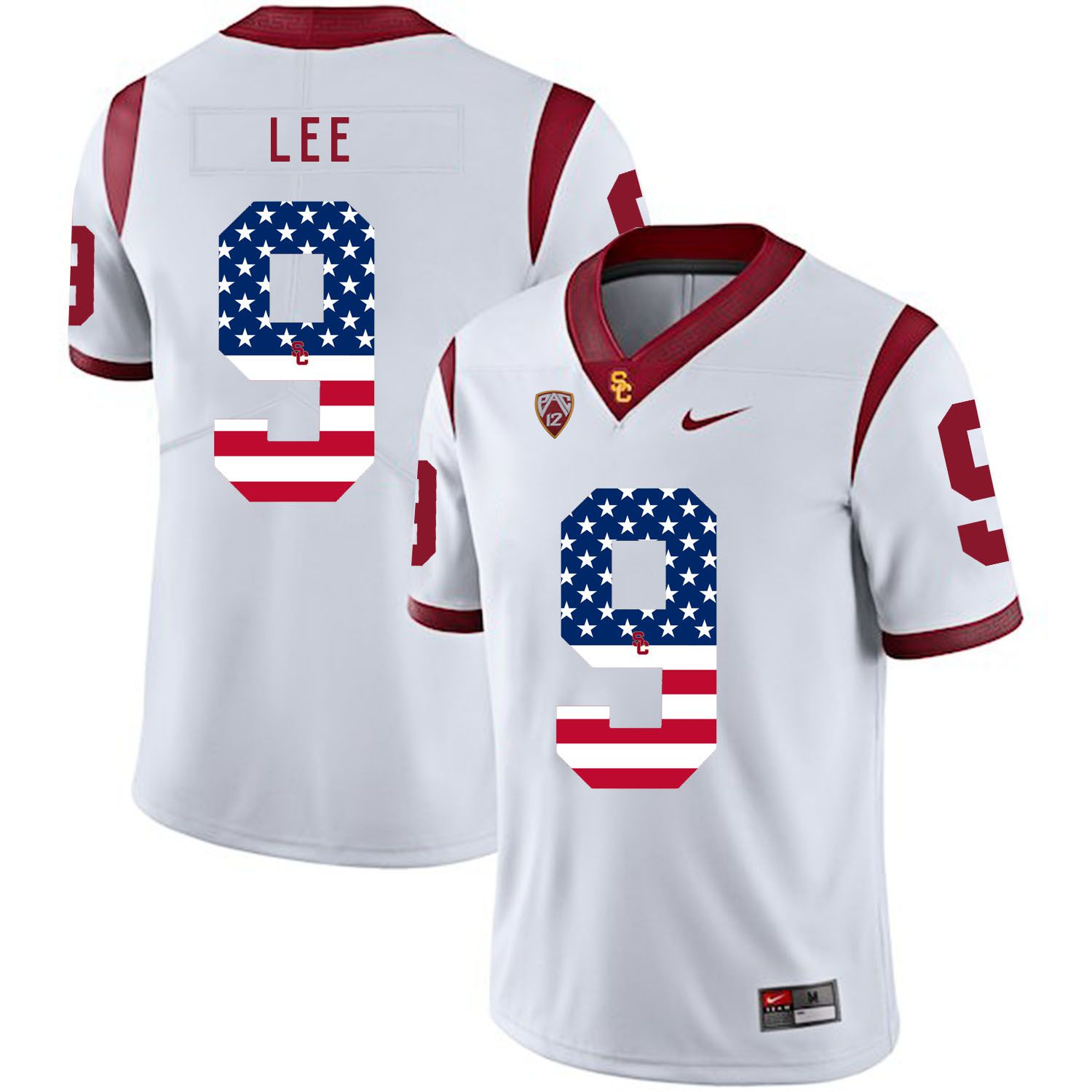 Men USC Trojans 9 Lee White Flag Customized NCAA Jerseys