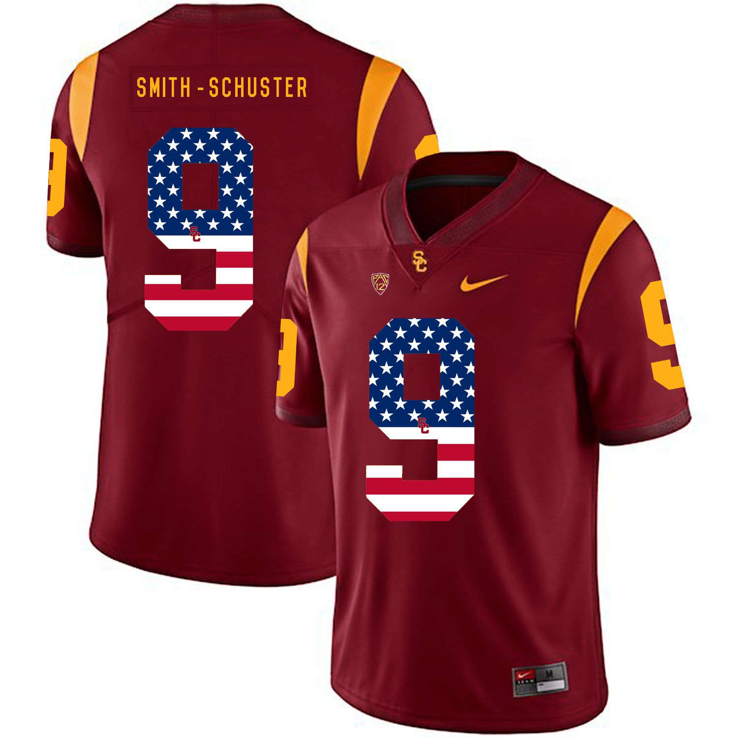 Men USC Trojans 9 Smith-Schuster Red Flag Customized NCAA Jerseys
