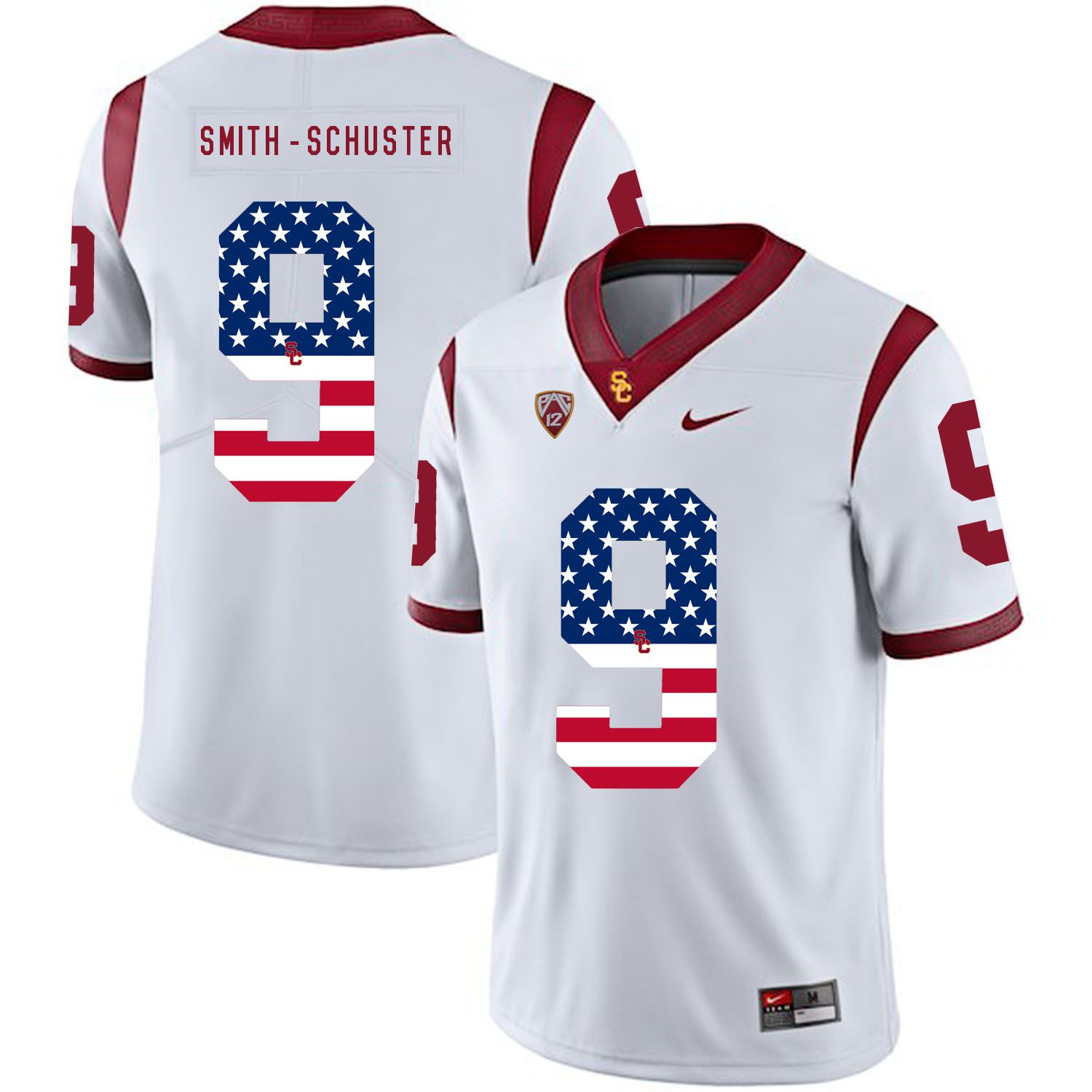 Men USC Trojans 9 Smith-Schuster White Flag Customized NCAA Jerseys