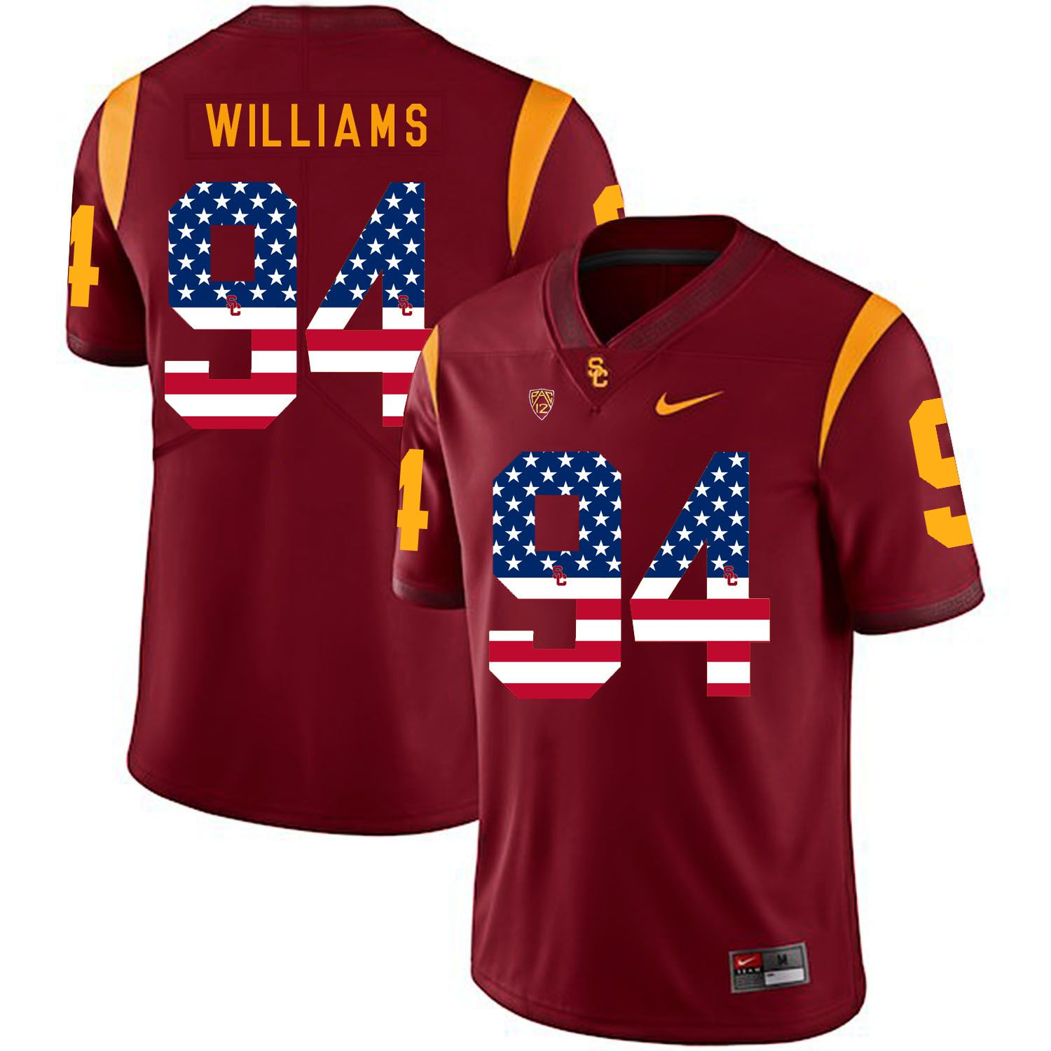 Men USC Trojans 94 Williams Red Flag Customized NCAA Jerseys