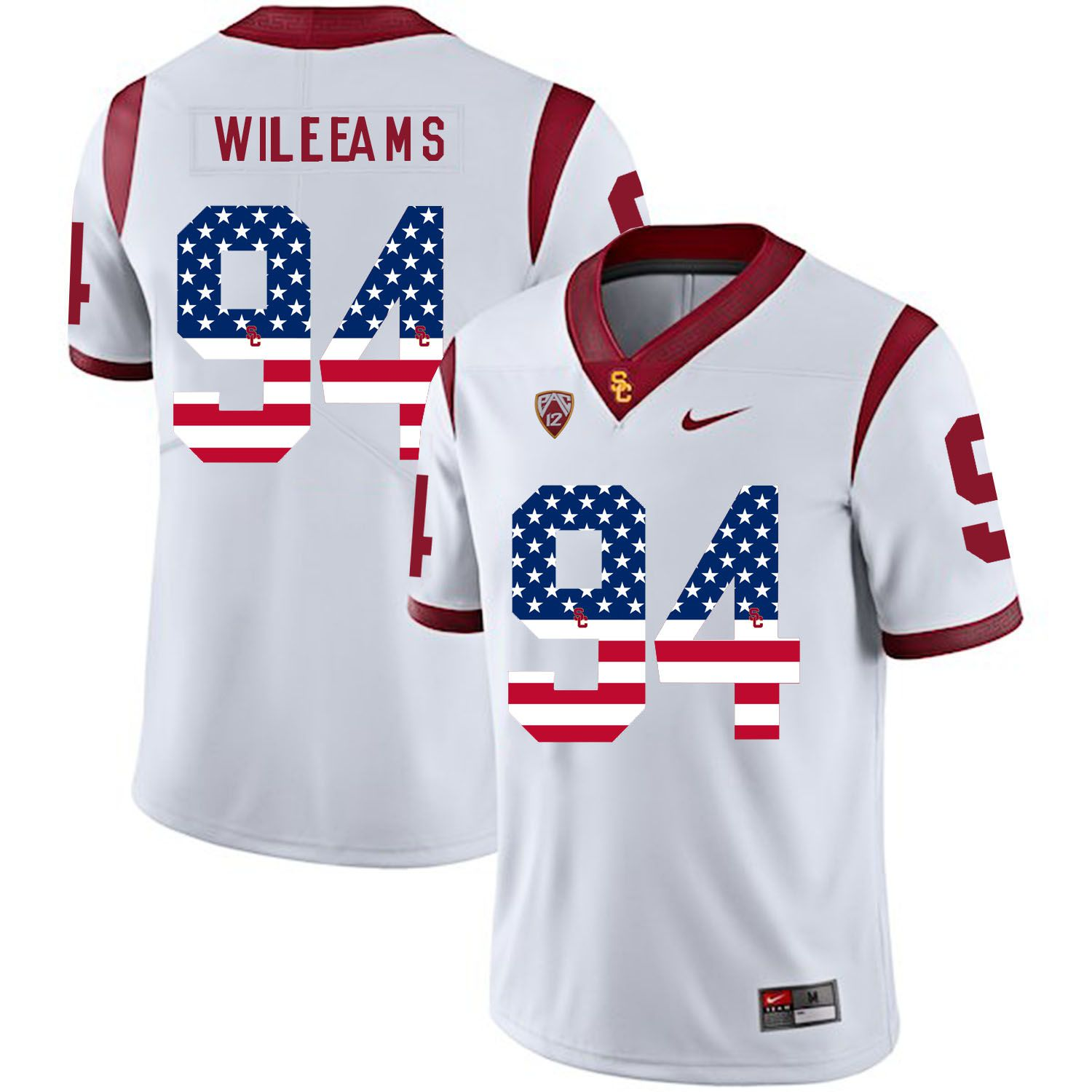 Men USC Trojans 94 Williams White Flag Customized NCAA Jerseys