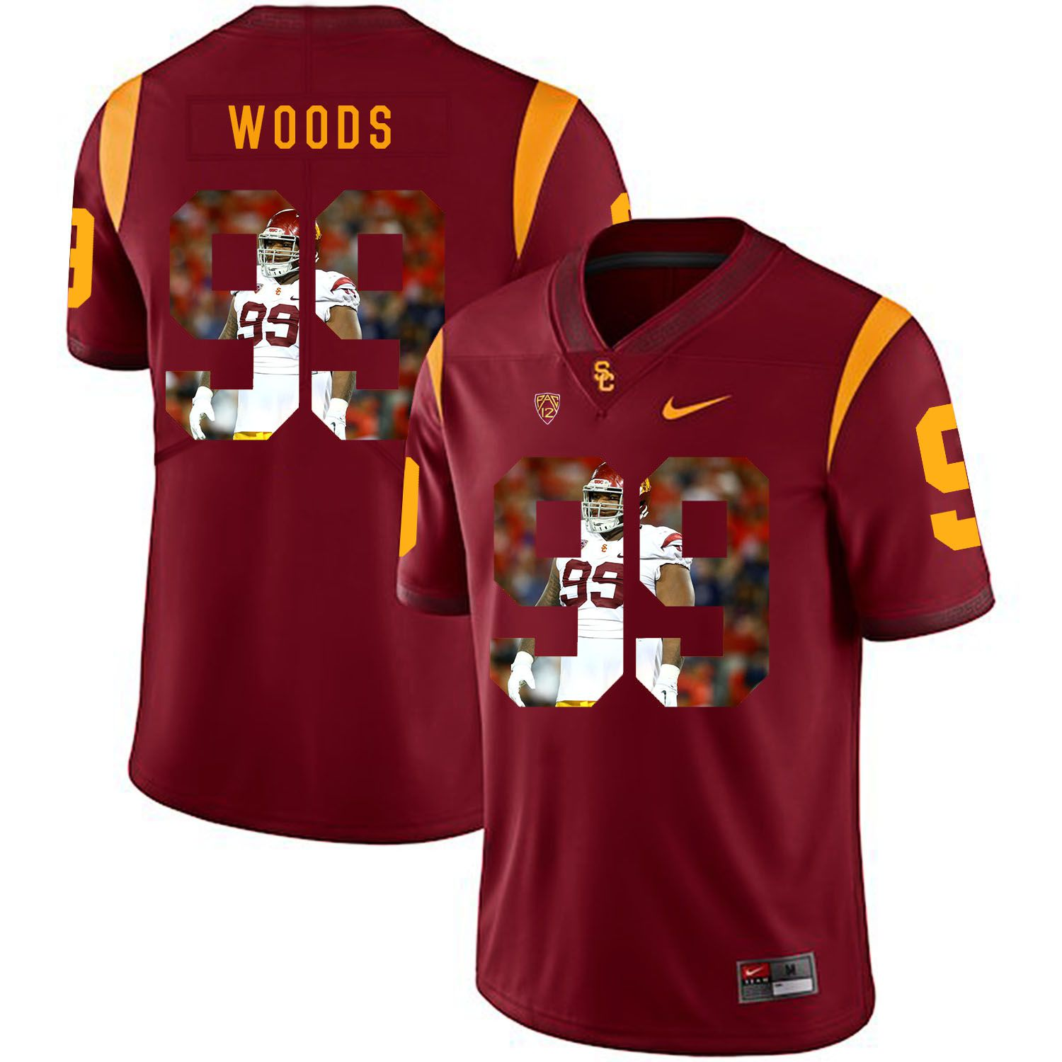 Men USC Trojans 99 Woods Red Fashion Edition Customized NCAA Jerseys