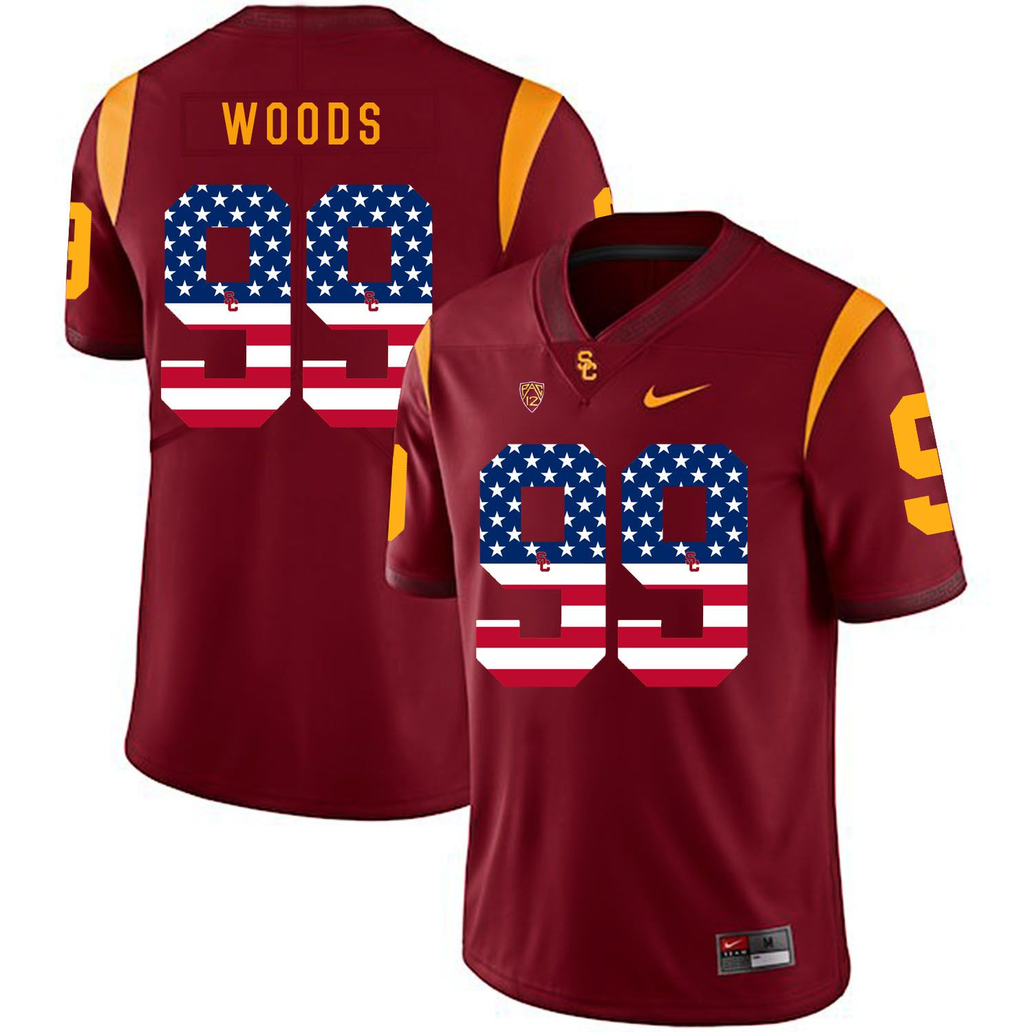Men USC Trojans 99 Woods Red Flag Customized NCAA Jerseys