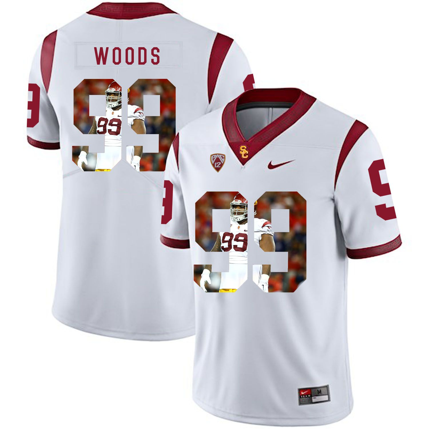 Men USC Trojans 99 Woods White Fashion Edition Customized NCAA Jerseys