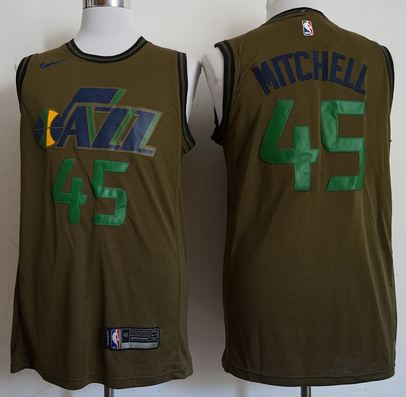 Men Utah Jazz 45 Mitchell Military green Game Nike NBA Jerseys