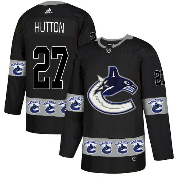 Men Vancouver Canucks 27 Hutton Black Adidas Fashion NHL Jersey