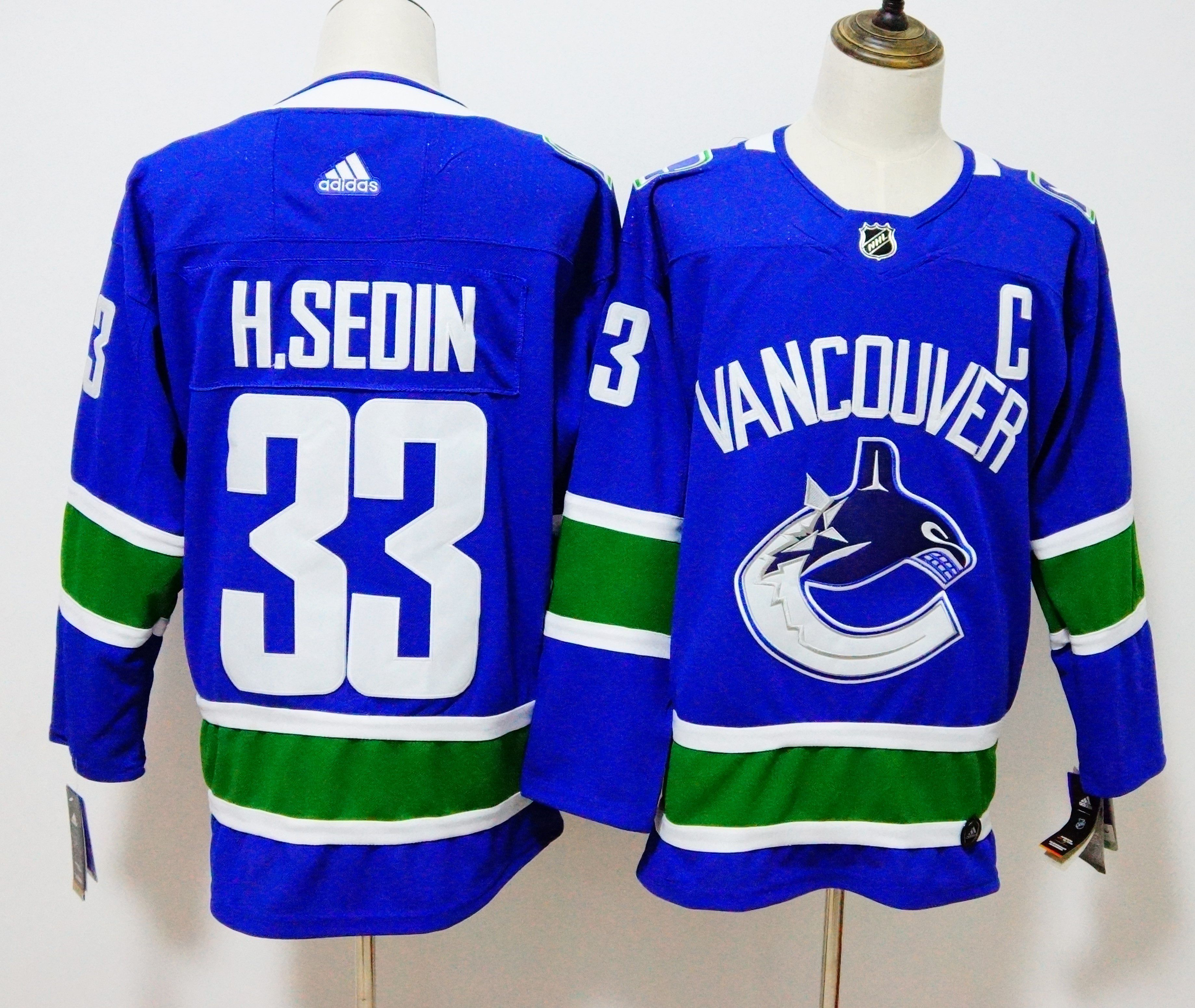 Men Vancouver Canucks 33 H.Sedin Blue Hockey Stitched Adidas NHL Jerseys