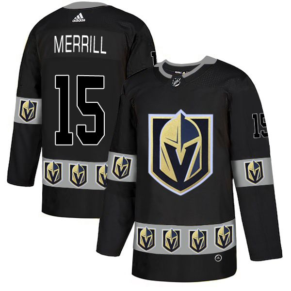 Men Vegas Golden Knights 15 Merrill Black Adidas Fashion NHL Jersey