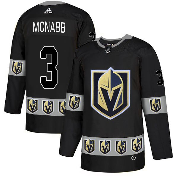 Men Vegas Golden Knights 3 Mcnabb Black Adidas Fashion NHL Jersey