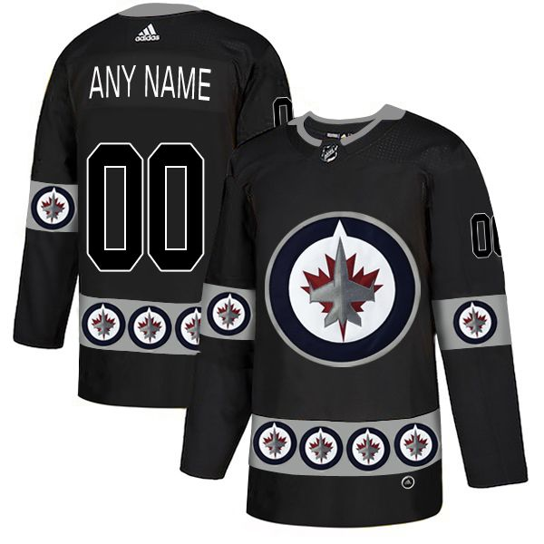 Men Winnipeg Jets 00 Any name Black Custom Adidas Fashion NHL Jersey