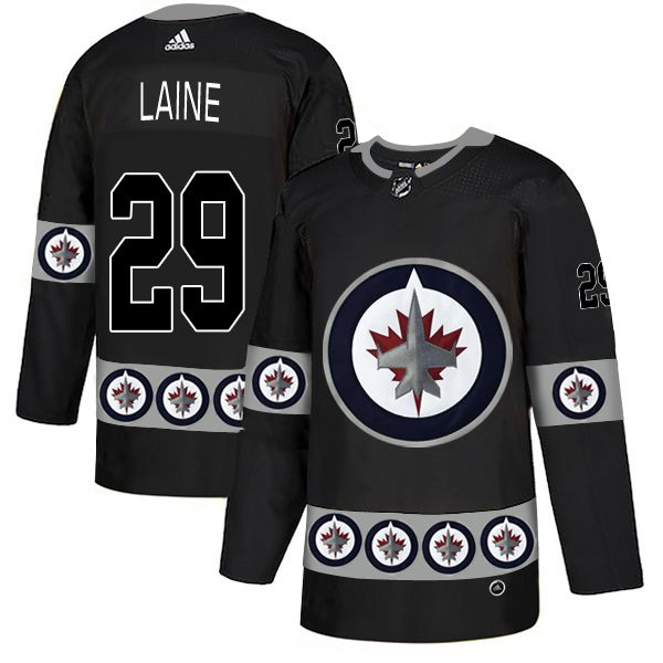 Men Winnipeg Jets 29 Laine Black Adidas Fashion NHL Jersey