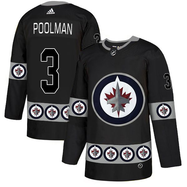 Men Winnipeg Jets 3 Poolman Black Adidas Fashion NHL Jersey